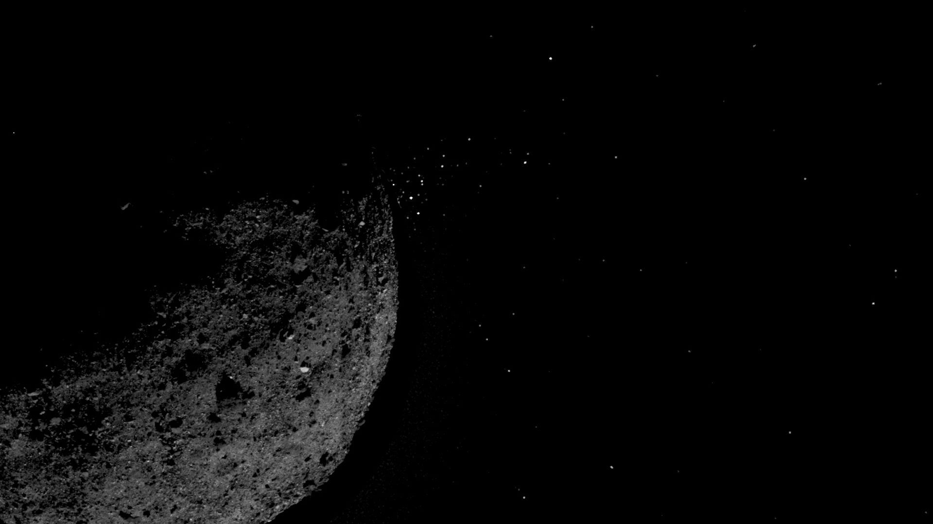 The asteroid Bennu projects particles from its surface.