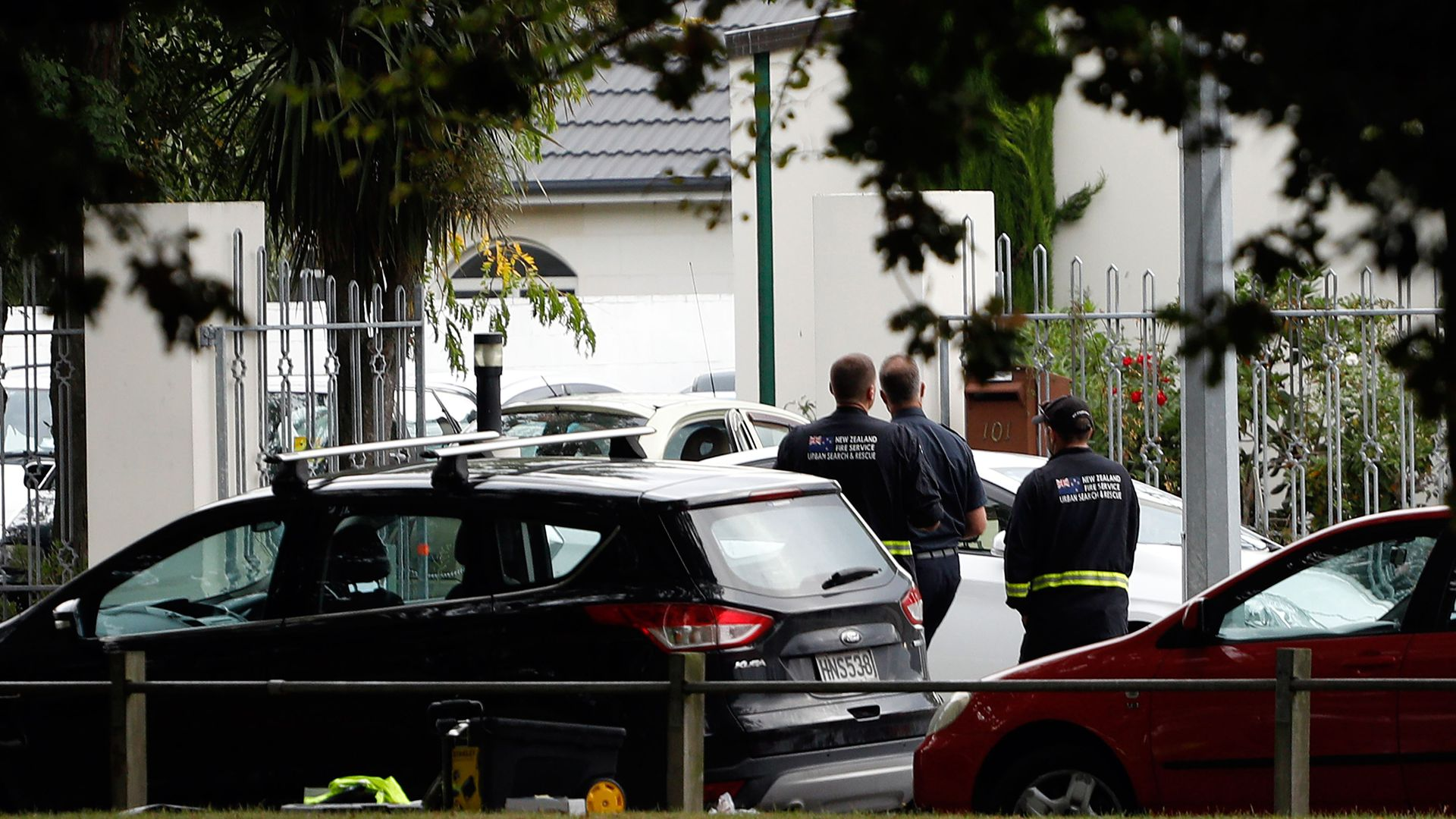 New Zealand police stand outside one of the mosques that was targeted in the shootings