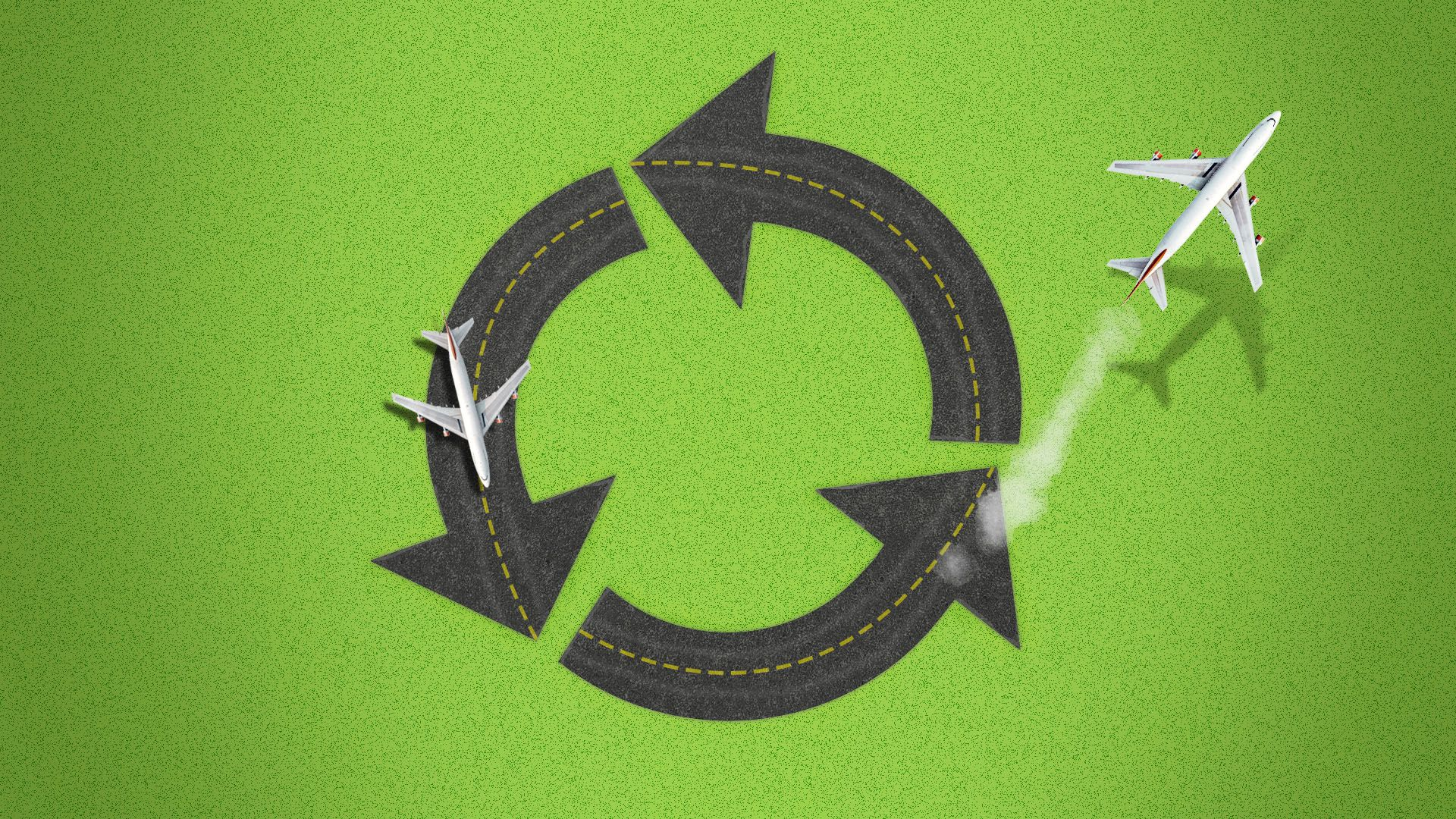 Illustration of an airplane runway in the shape of a recycling symbol