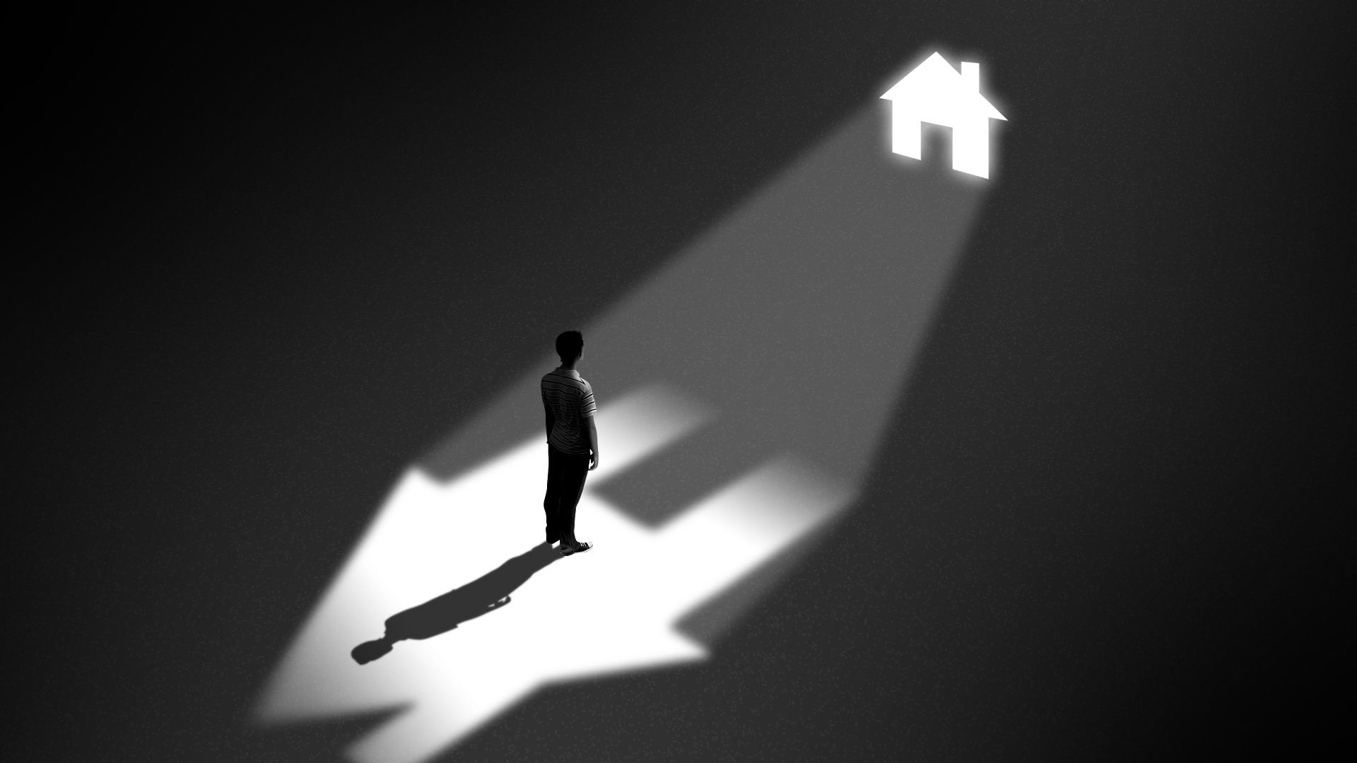 Illustration of a man standing in a dark cell looking up towards a tiny window in the shape of a house casting light inside his cell.