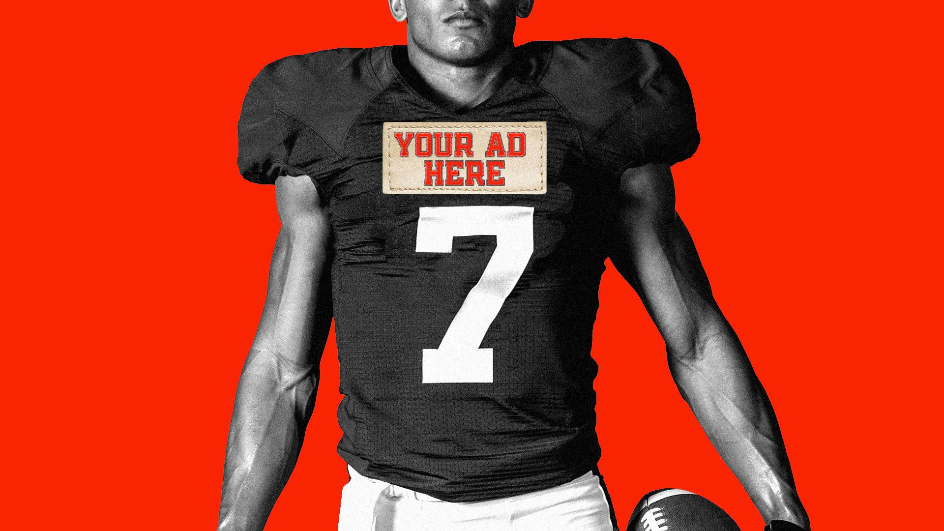 """Illustration of a football player with an embroidery patch on his jersey that reads, """"Your ad here."""""""