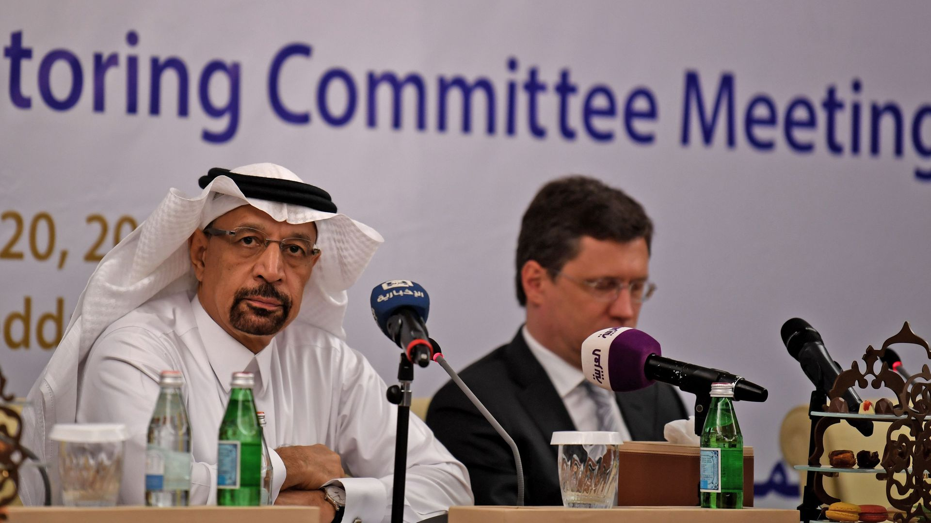 Saudi Energy Minister Khaled al-Faleh and Russian Energy Minister Alexander Novak attend a meeting of OPEC and non-OPEC members on April 20, 2018.