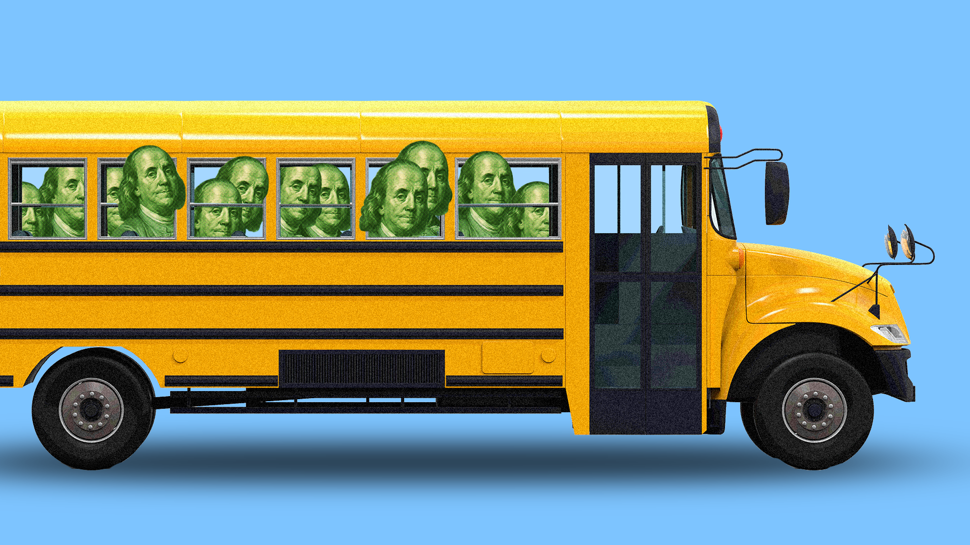 Schoolbus with hundred dollar bills