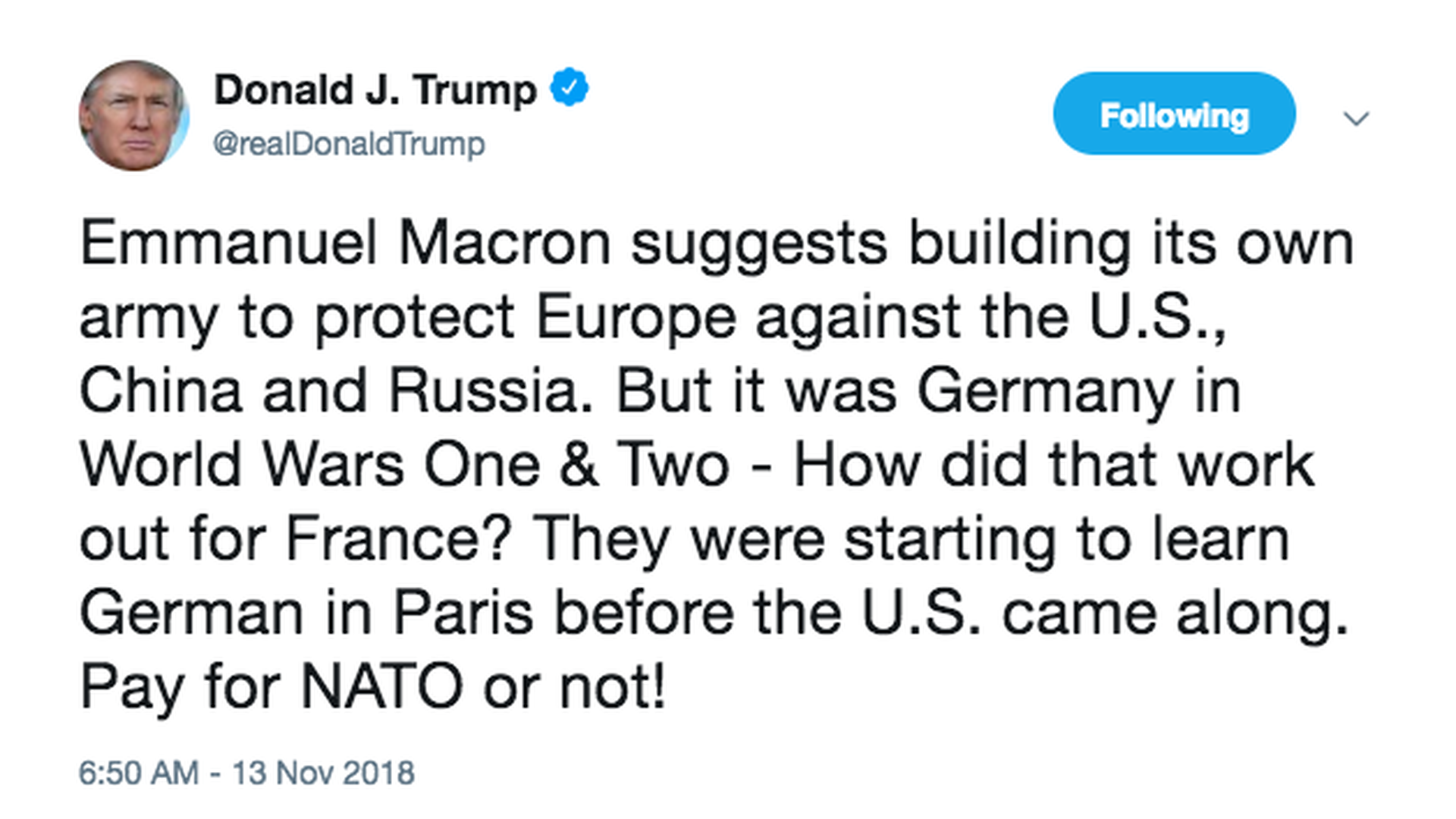 4. Trump attacks France on Twitter with WWII reminder for Macron