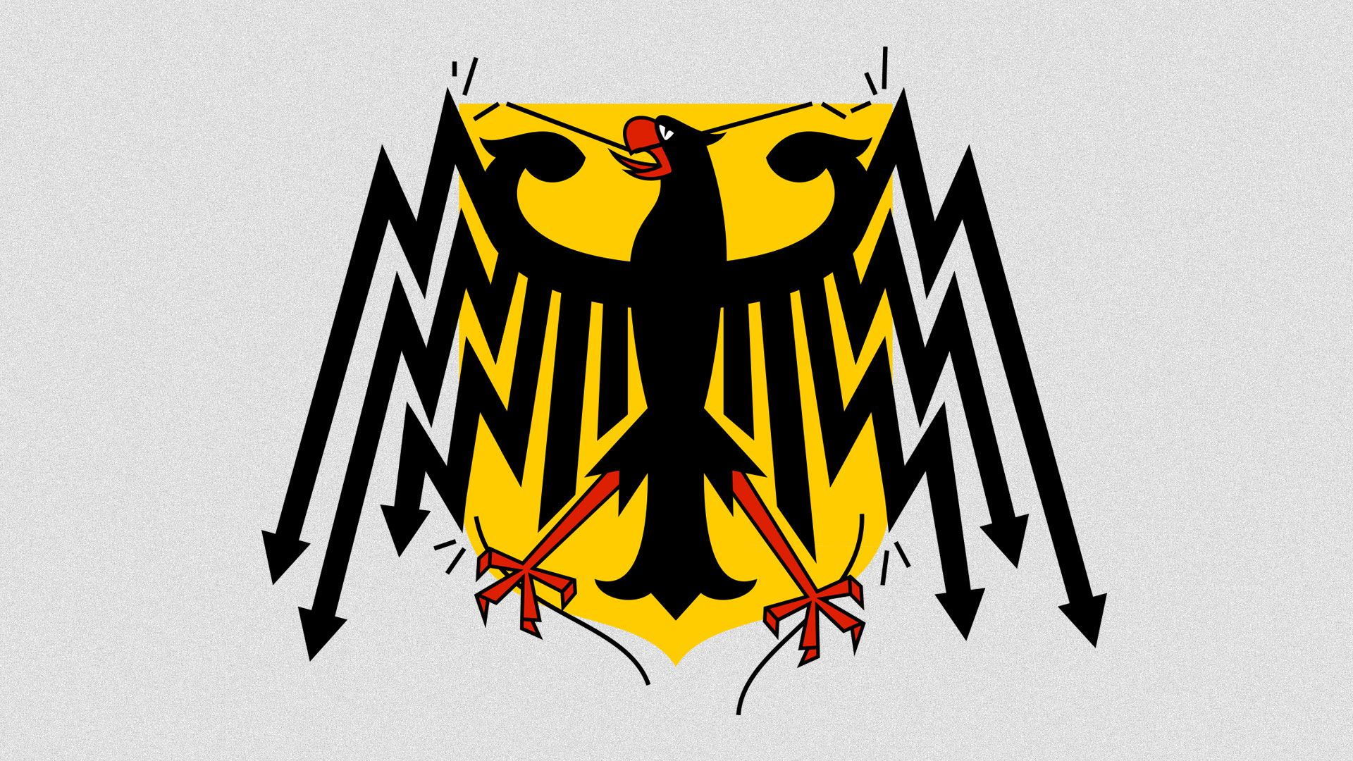 he German Bundesadler breaking out of it's shield.