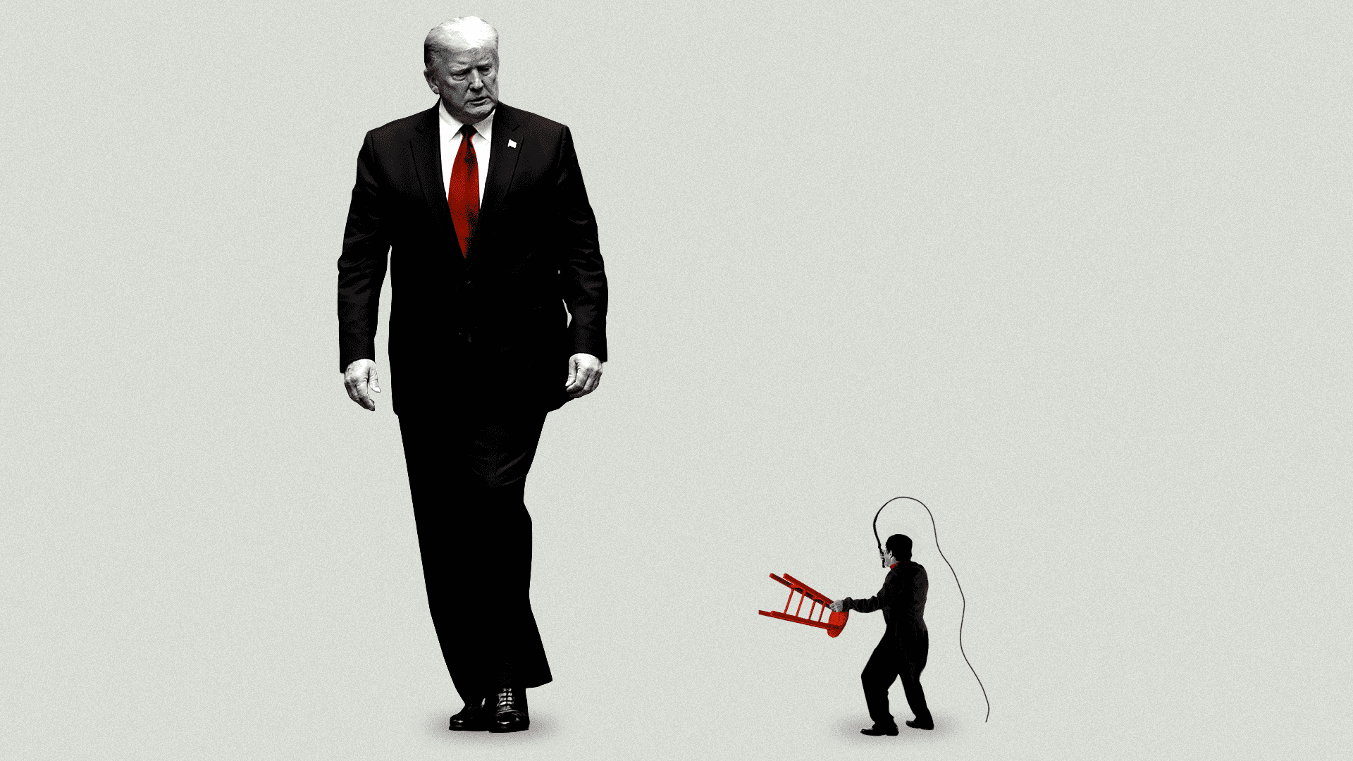 Trump standing very tall next to a shrunken depiction of a man holding a whip.