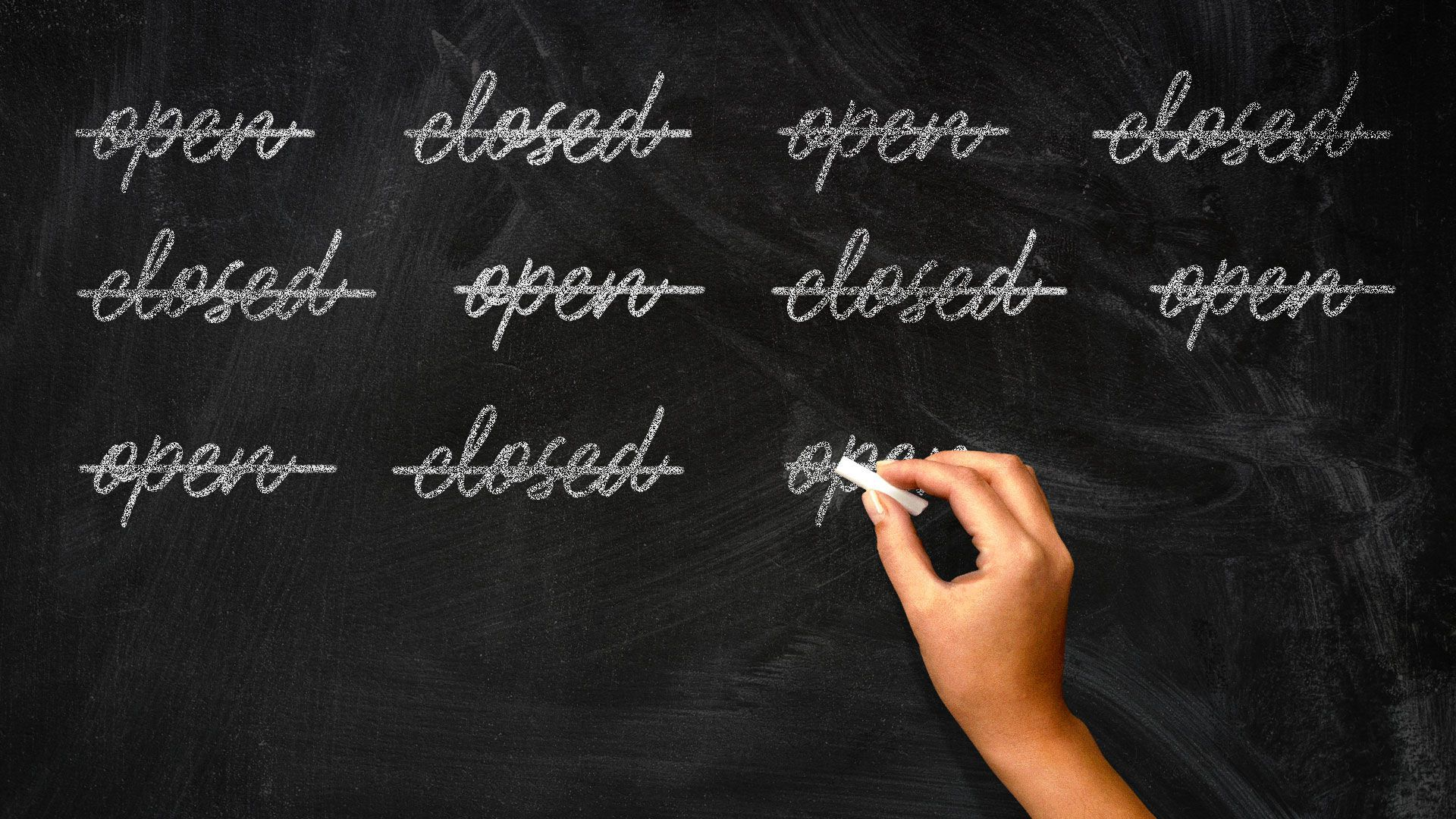 Illustration of hand writing and crossing out open and closed on a chalkboard