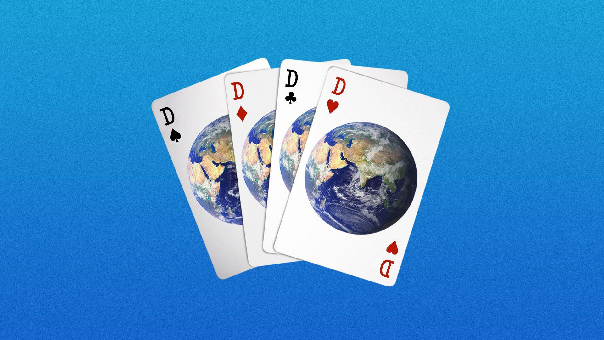 Illustration of a deck of cards with the earth on them