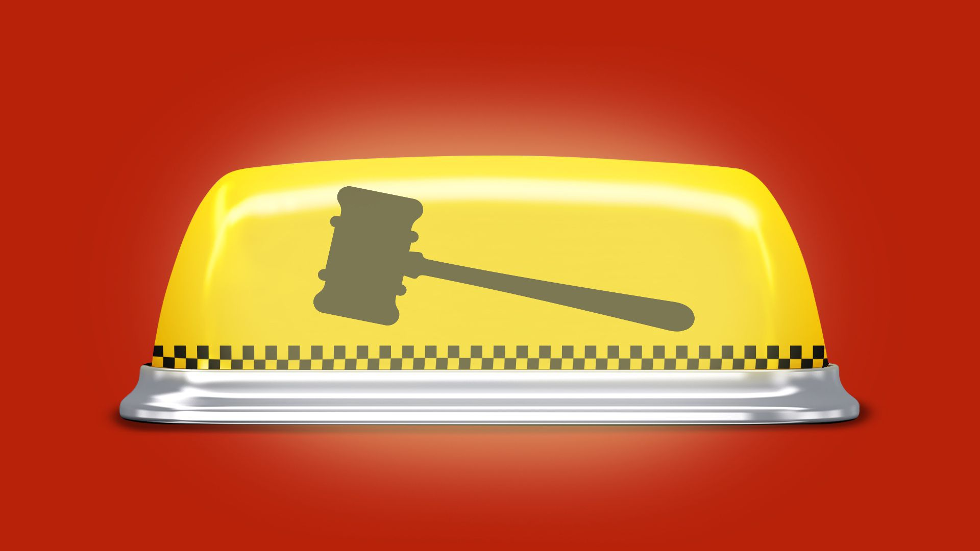 Illustration of a taxi rooflight stylized with a checker pattern and the outline of a gavel.