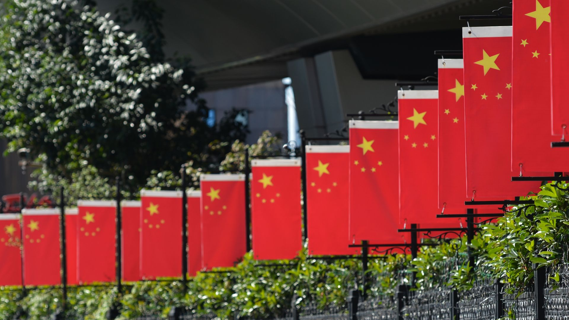 Chinese flags.
