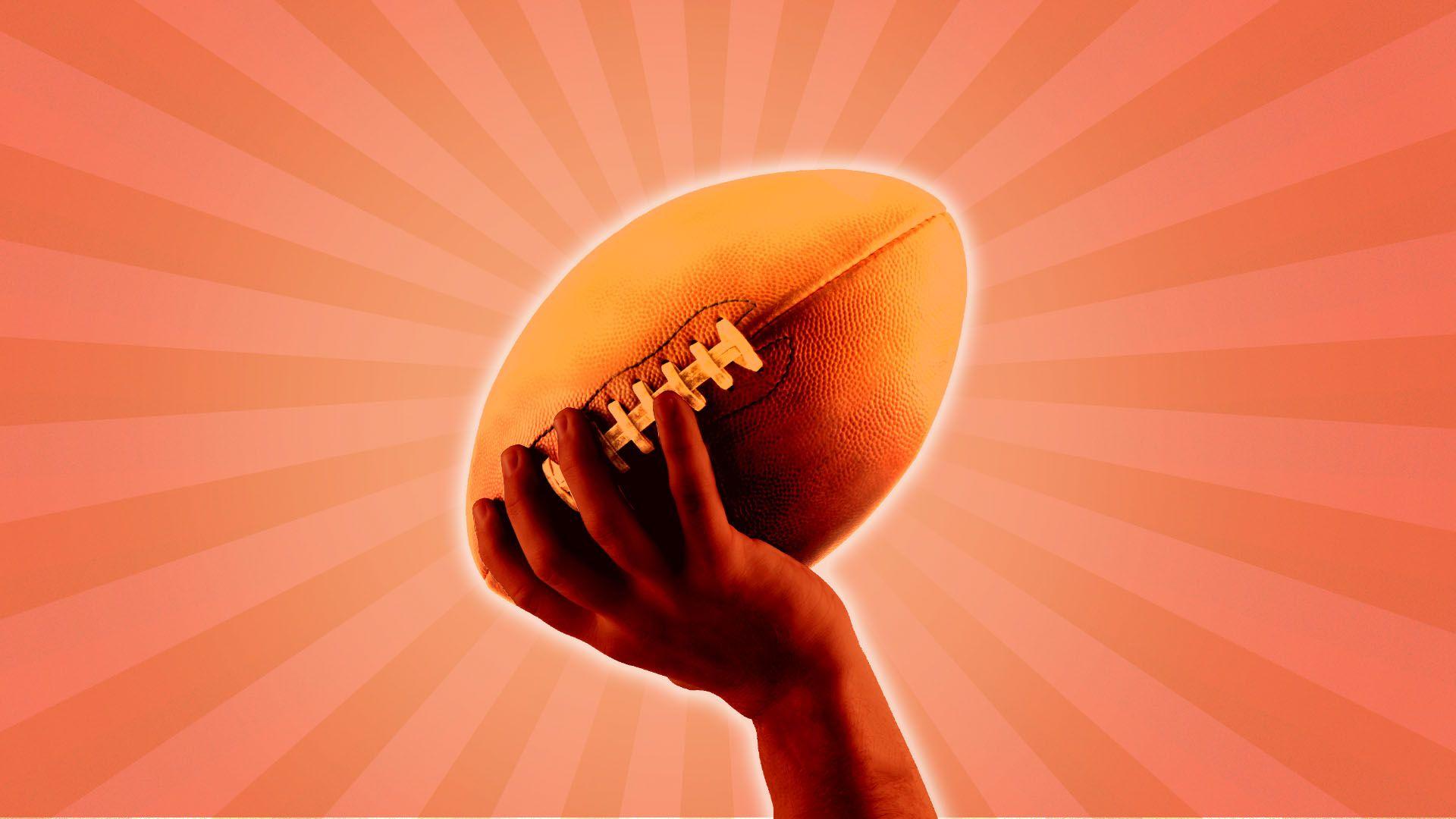 Illustration of hand holding up football