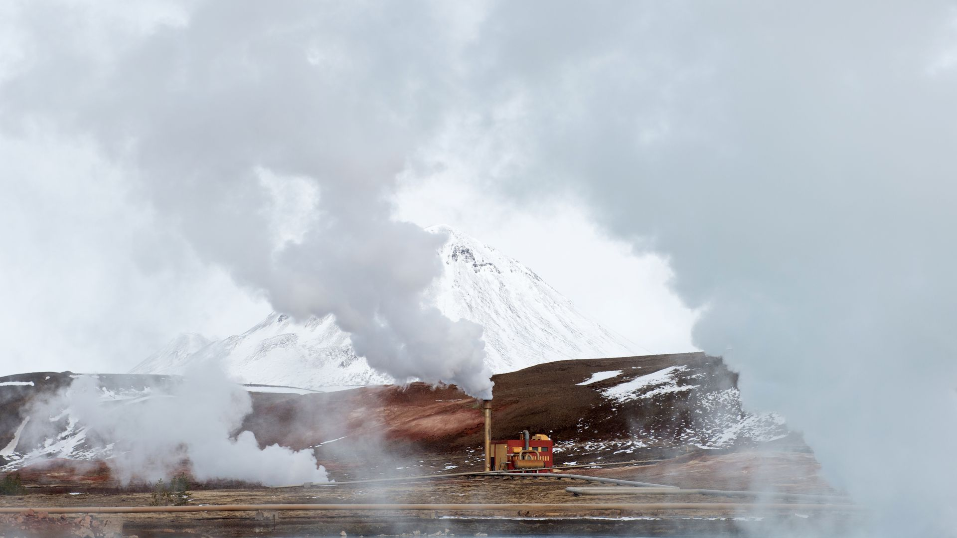 A geothermal plant spewing steam on April 12, 2017, outside Myvatn, Iceland.