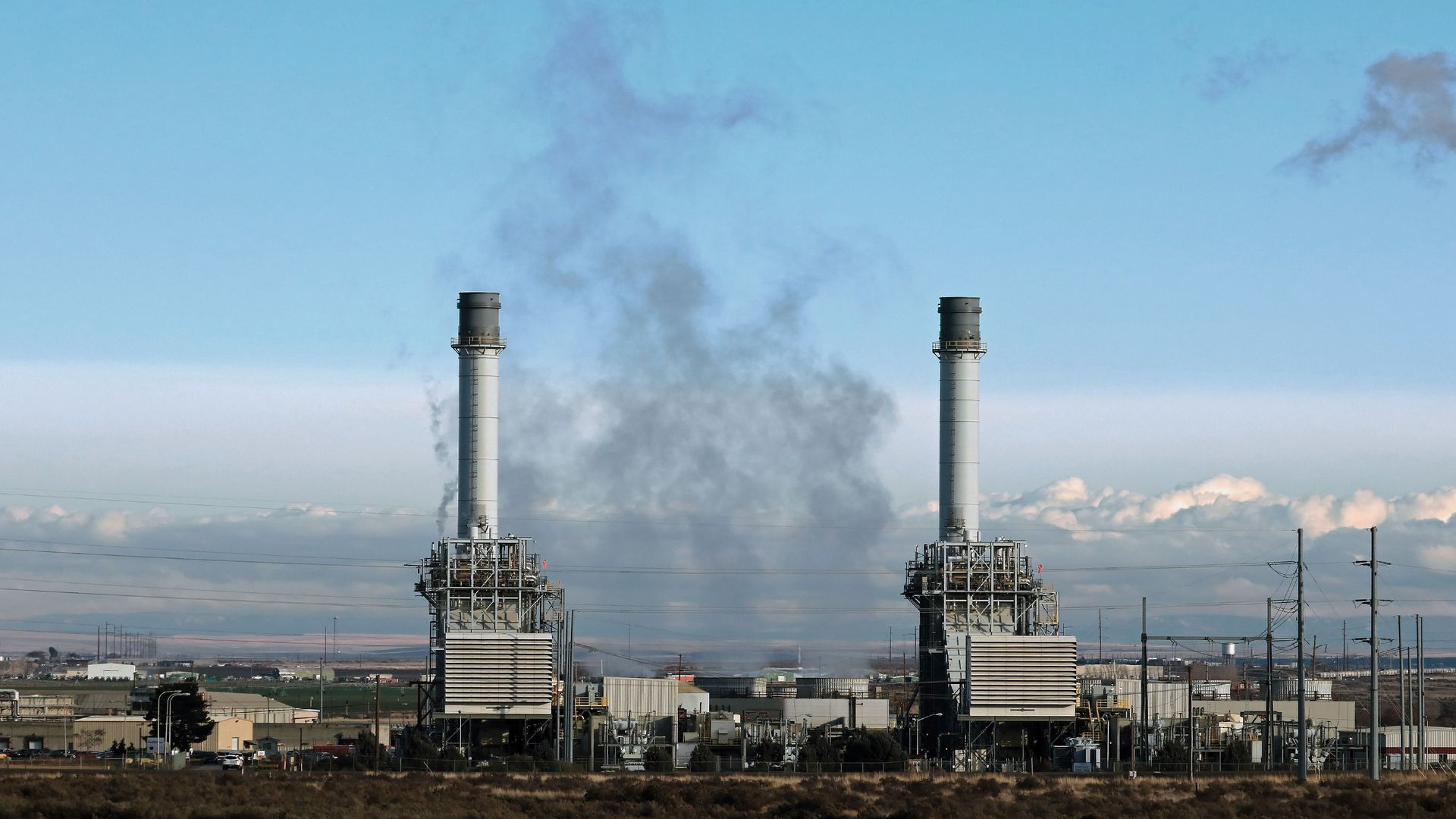 Two power plants give off smoke