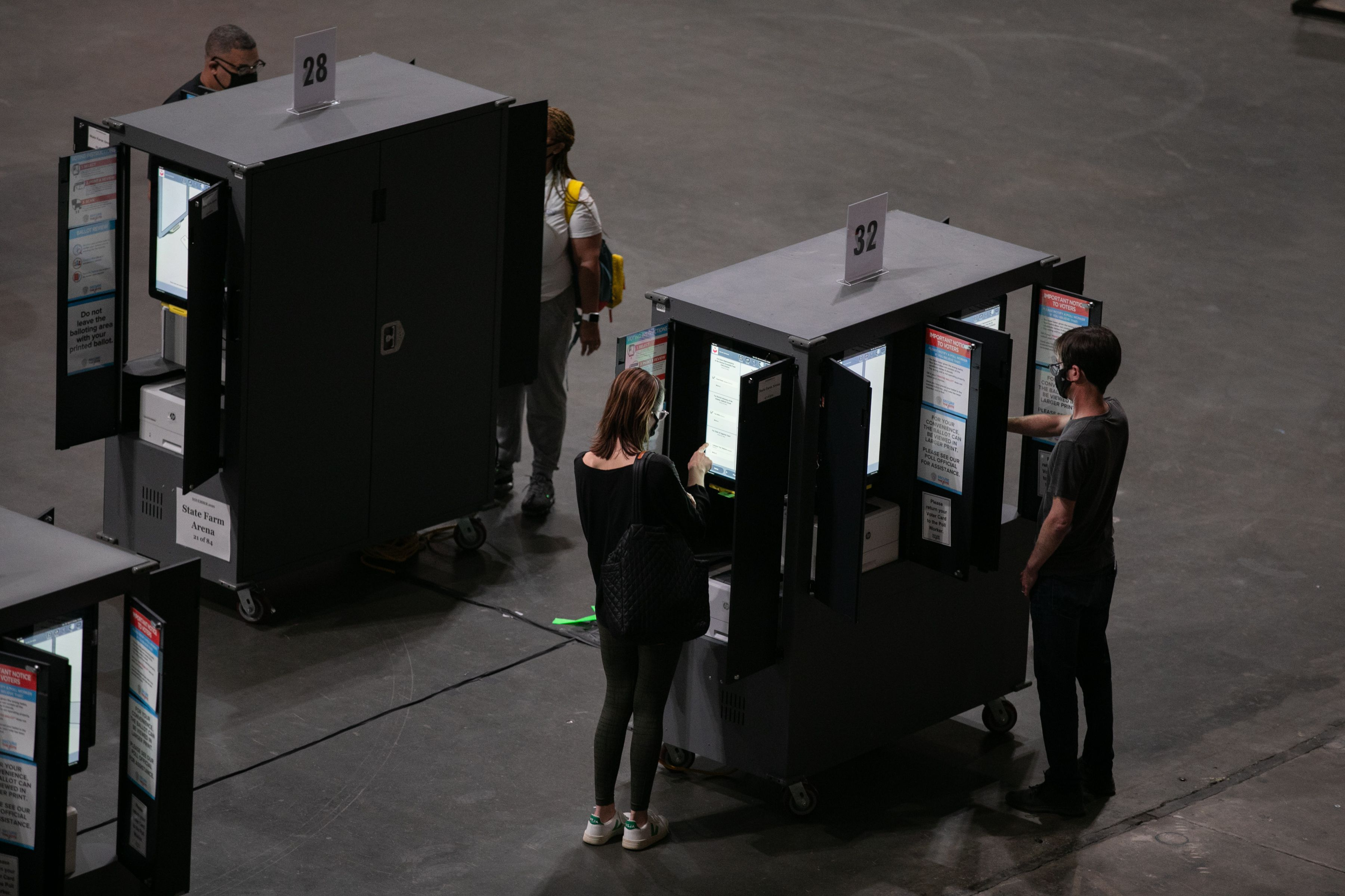 State Farm Arena's voting booths. Photo: Jessica McGowan/Getty Images
