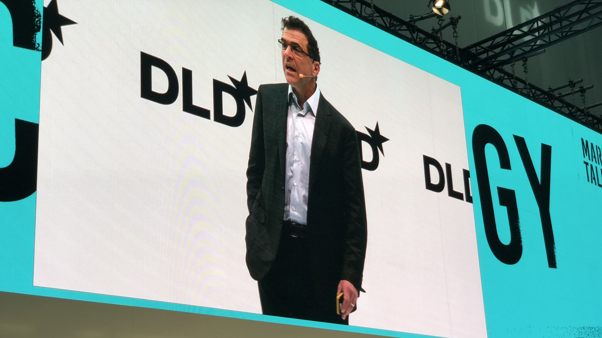 Facebook VP Elliot Schrage, speaking at DLD 18 in Munich