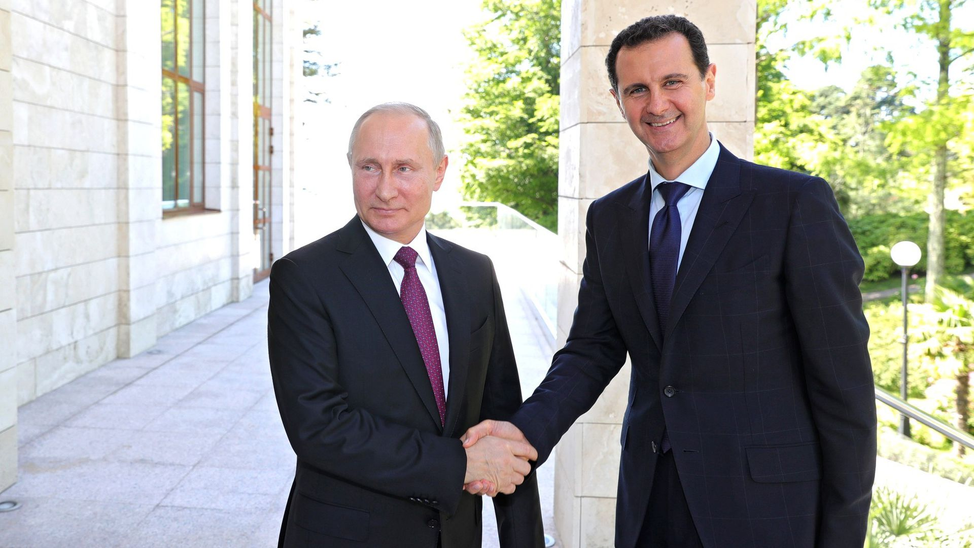 Russian President Vladimir Putin meets President of Syria Bashar Al-Assad in Sochi, Russia, on May 17, 2018.