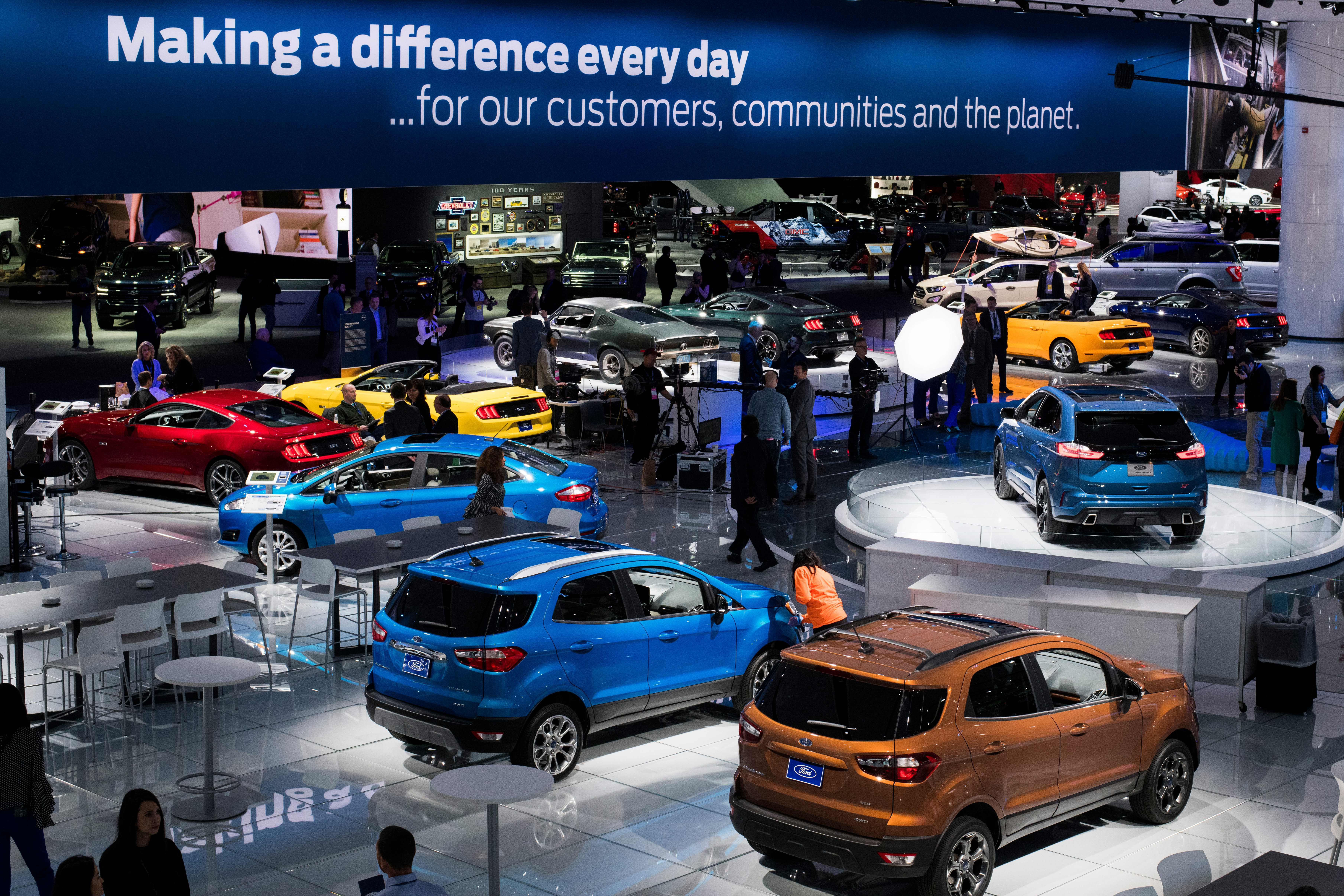 Ford cars at the Detroit Auto Show