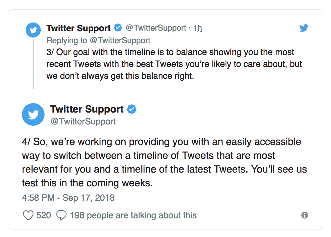 Tweets from Twitter on giving users an option to go back to chronological feed