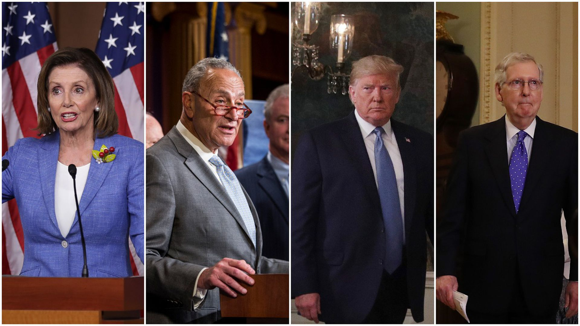 Nancy Pelosi, Chuck Schumer, President Trump and Mitch McConnell.