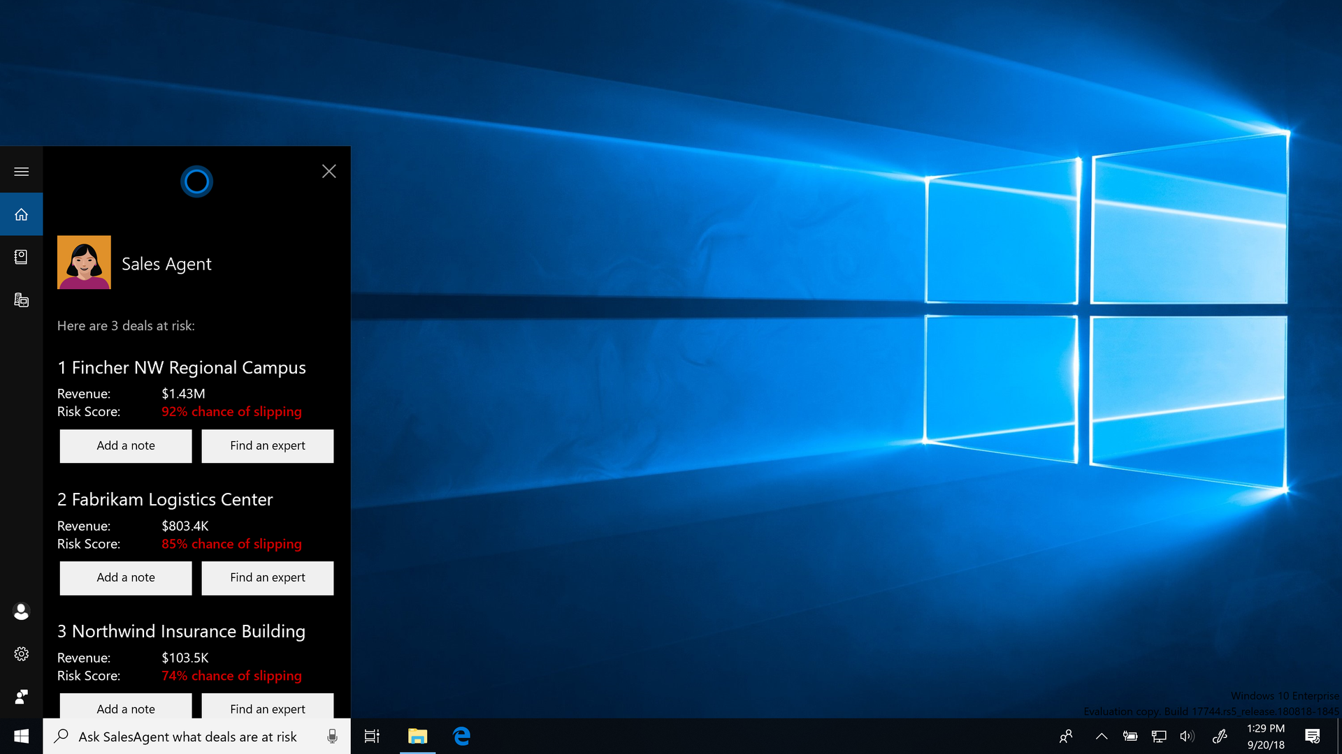 New AI tools in Cortana as seen on a Windows 10 desktop