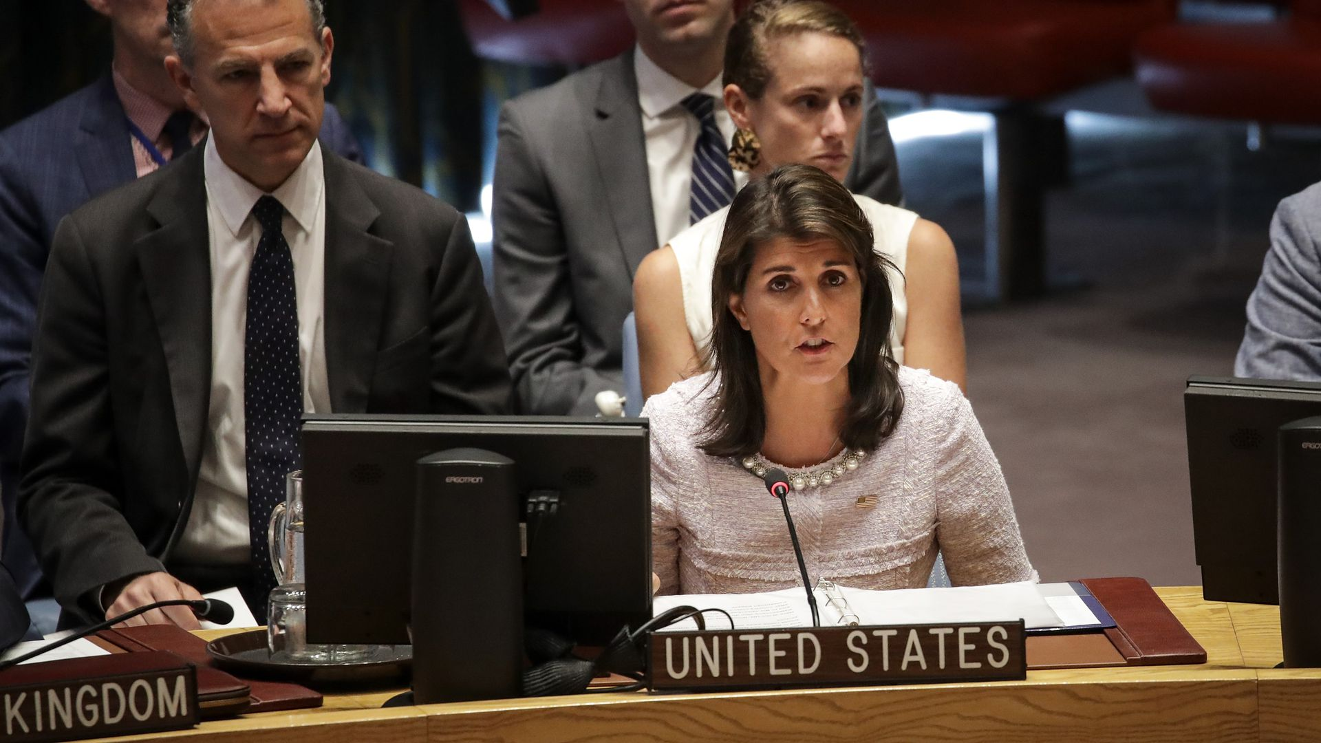Ambassador to the United Nations Nikki Haley speaks during a United Nations Security Council meeting at UN Headquarters, July 24, 2018 in New York City.