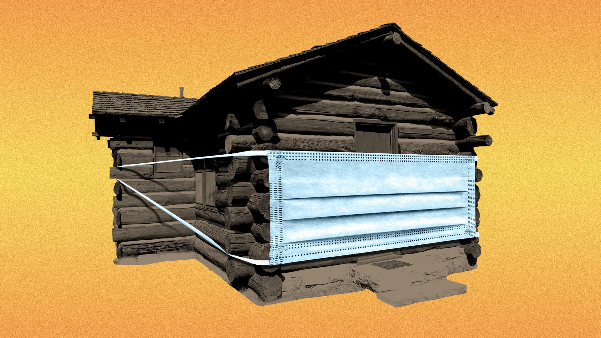 Illustration of a log cabin wearing a covid mask.