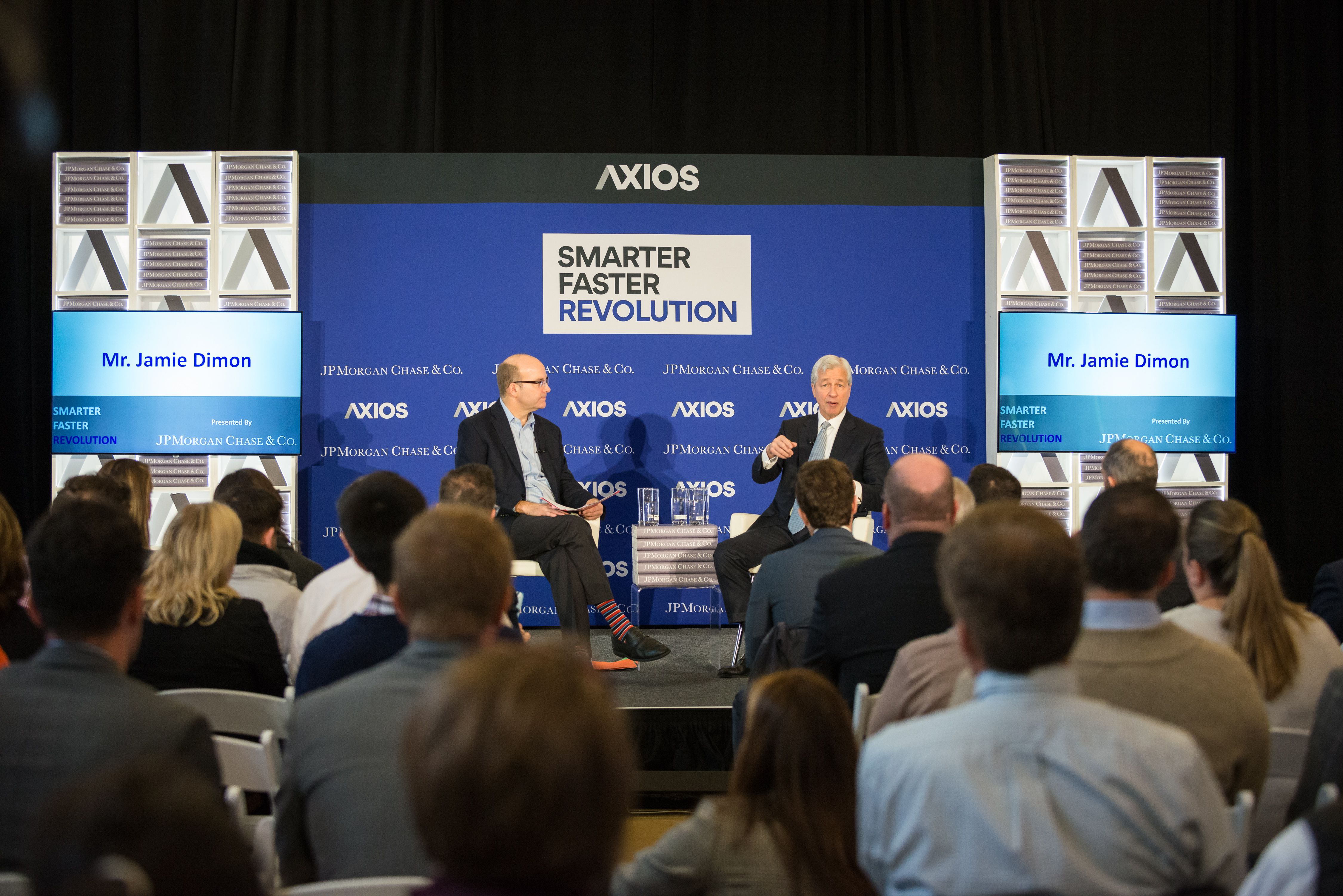Jamie Dimon speaks to Mike Allen on the Axios stage at Columbus State Community College