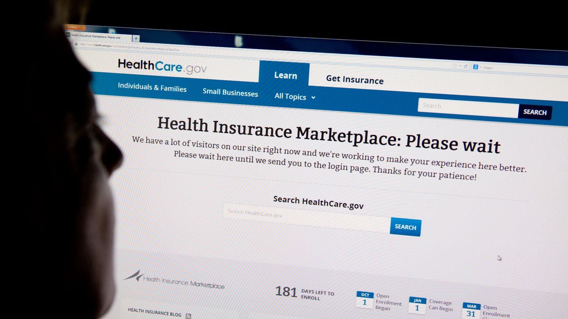 A person looking at HealthCare.gov