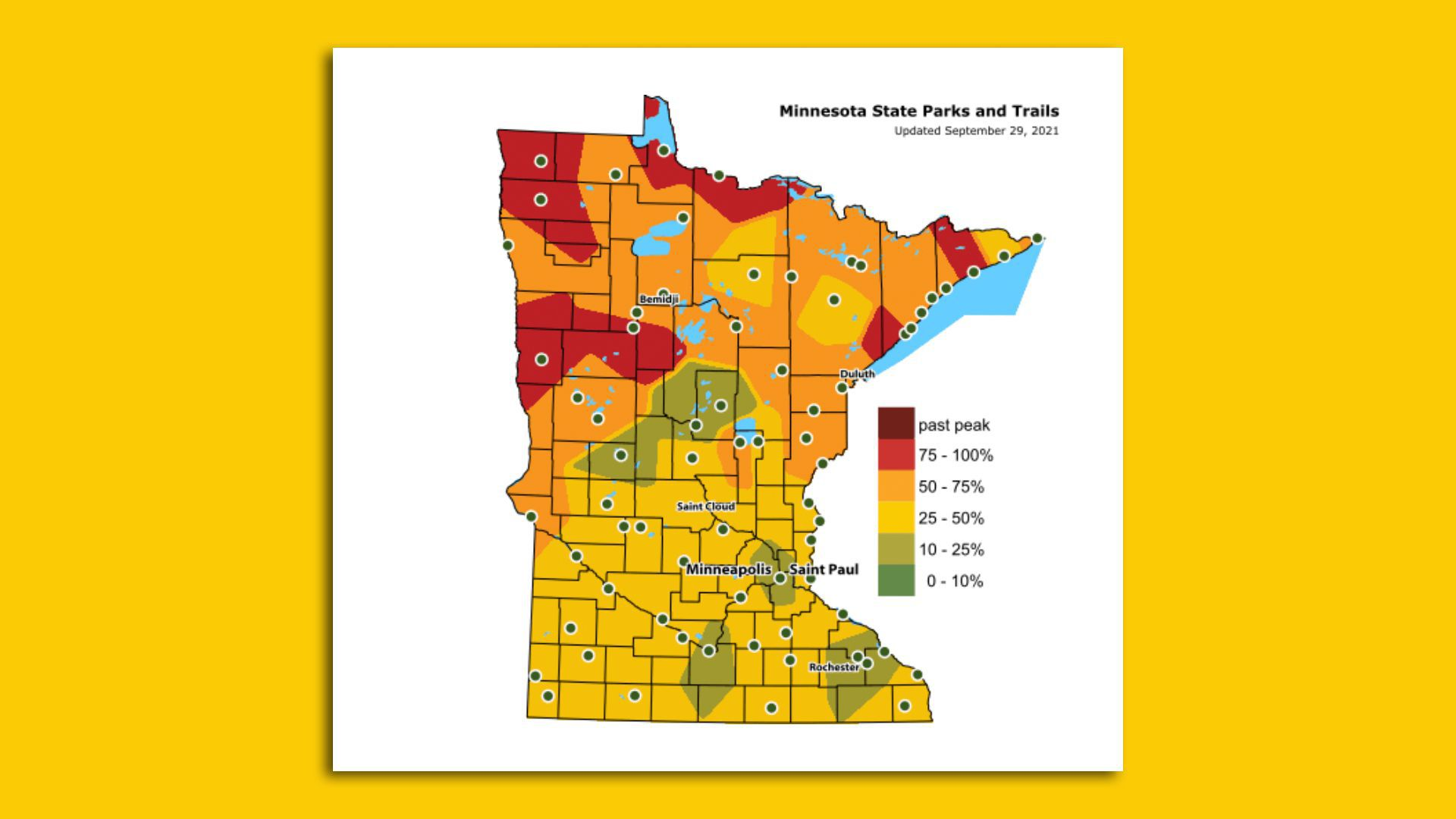 A peak fall color map of Minnesota.