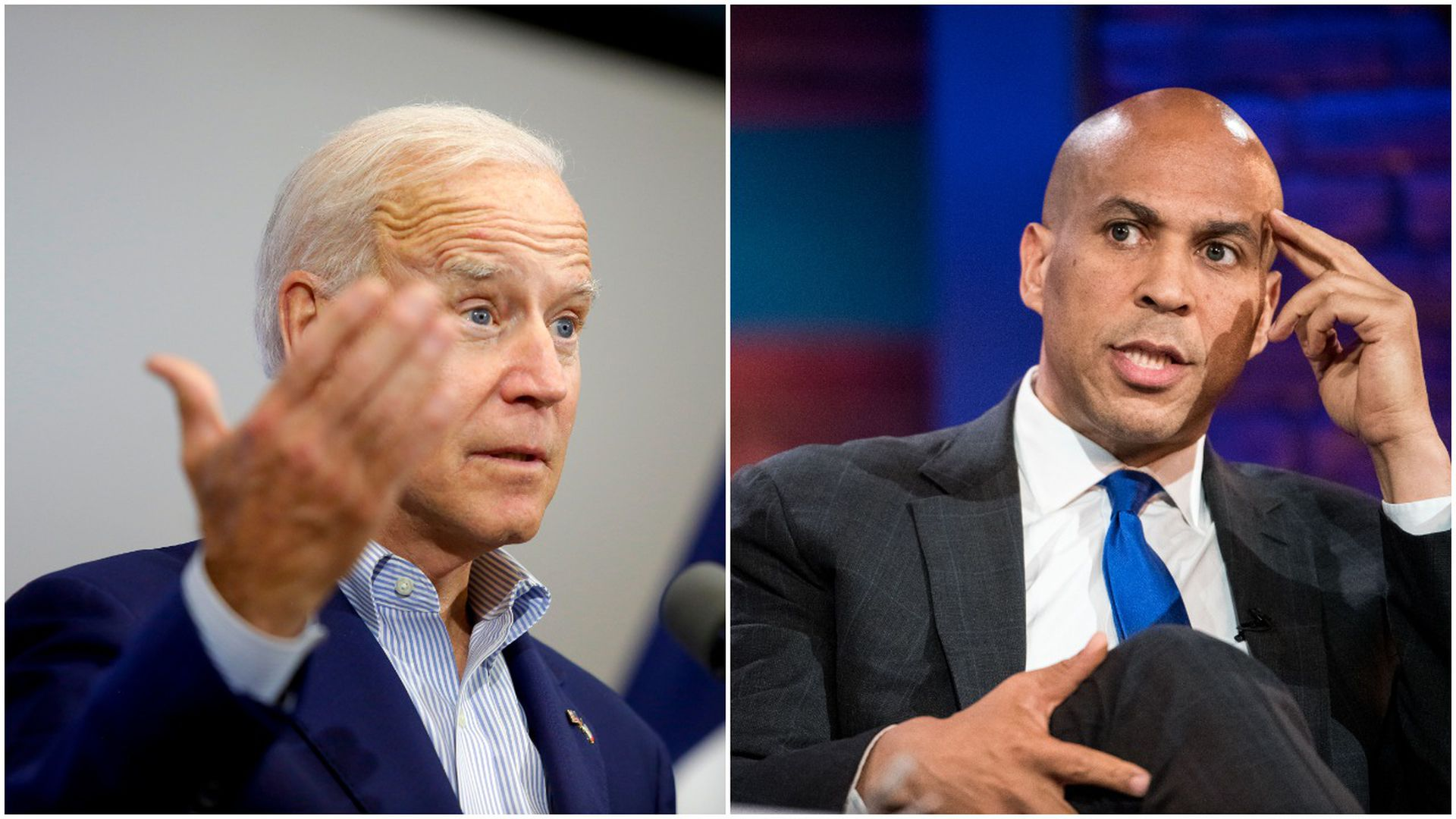 This image is a split screen of Joe Biden and Cory Booker.