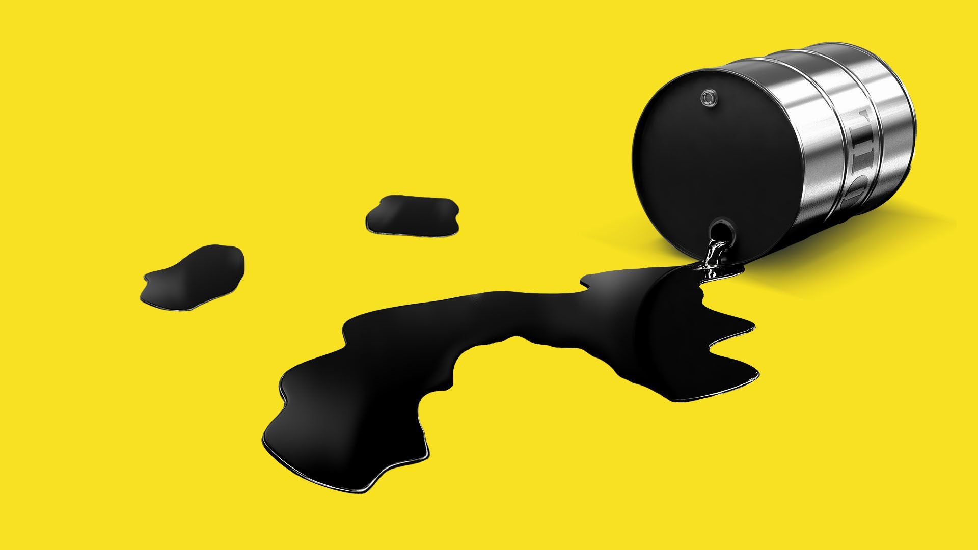 An illustration of an oil tank that has been tipped over and oil is spilling out of it. A yellow background.