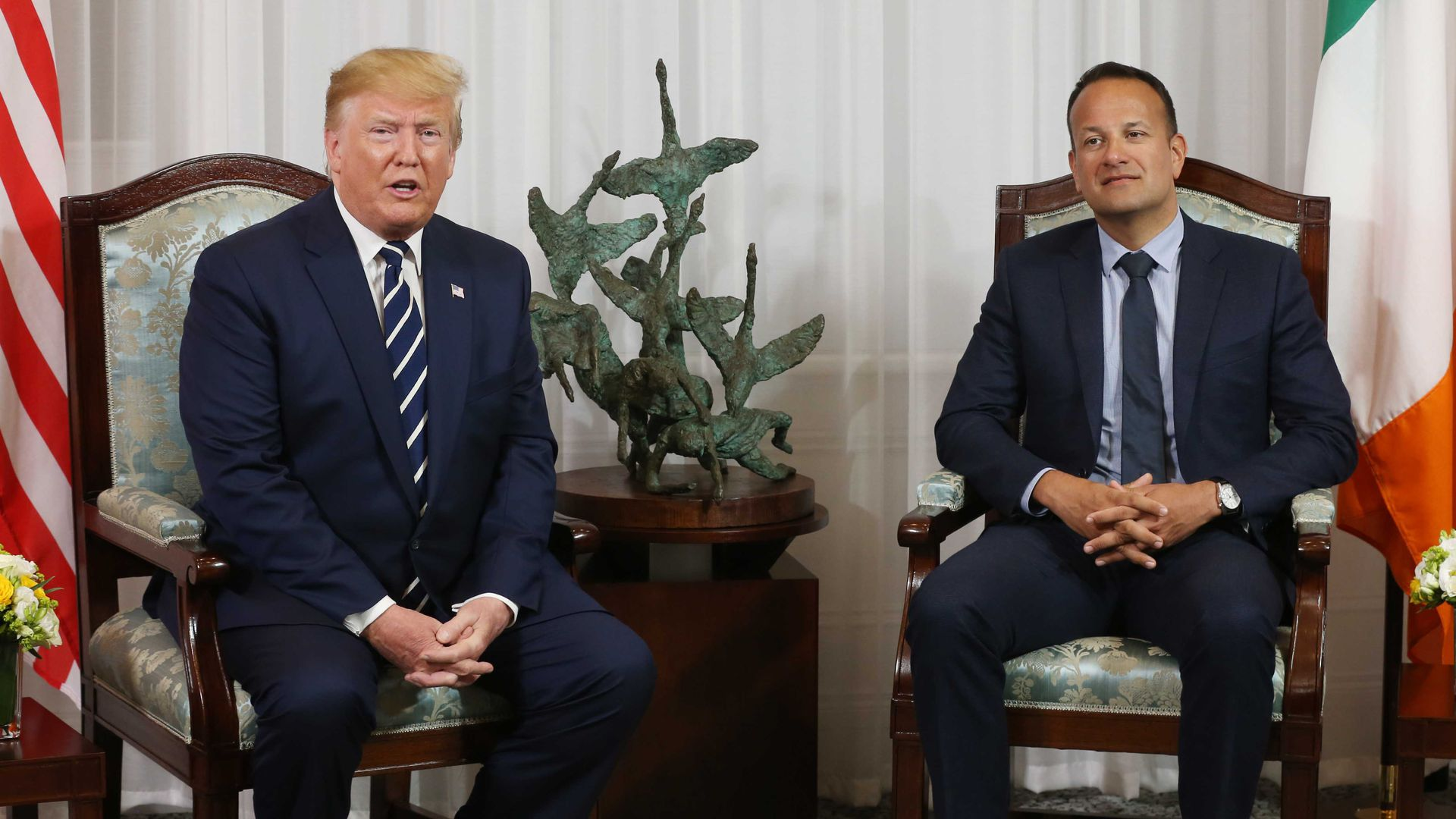 President Donald Trump during a bilateral meeting with Taoiseach Leo Varadkar at Shannon airport on June 5, 2019 in Shannon, Ireland.