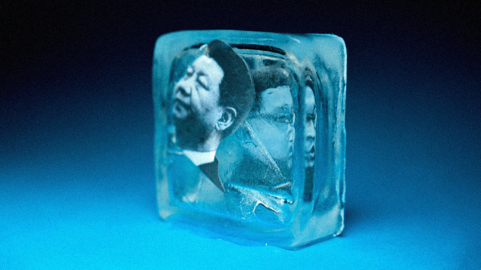 Xi and Kim in a block of ice