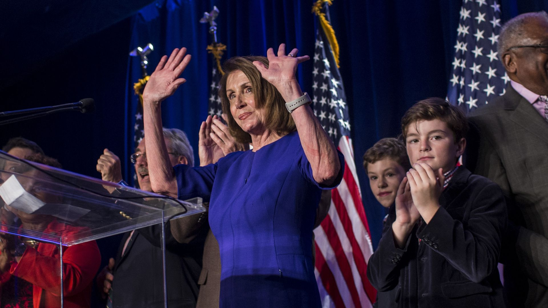 Nancy Pelosi after delivering remarks on election night