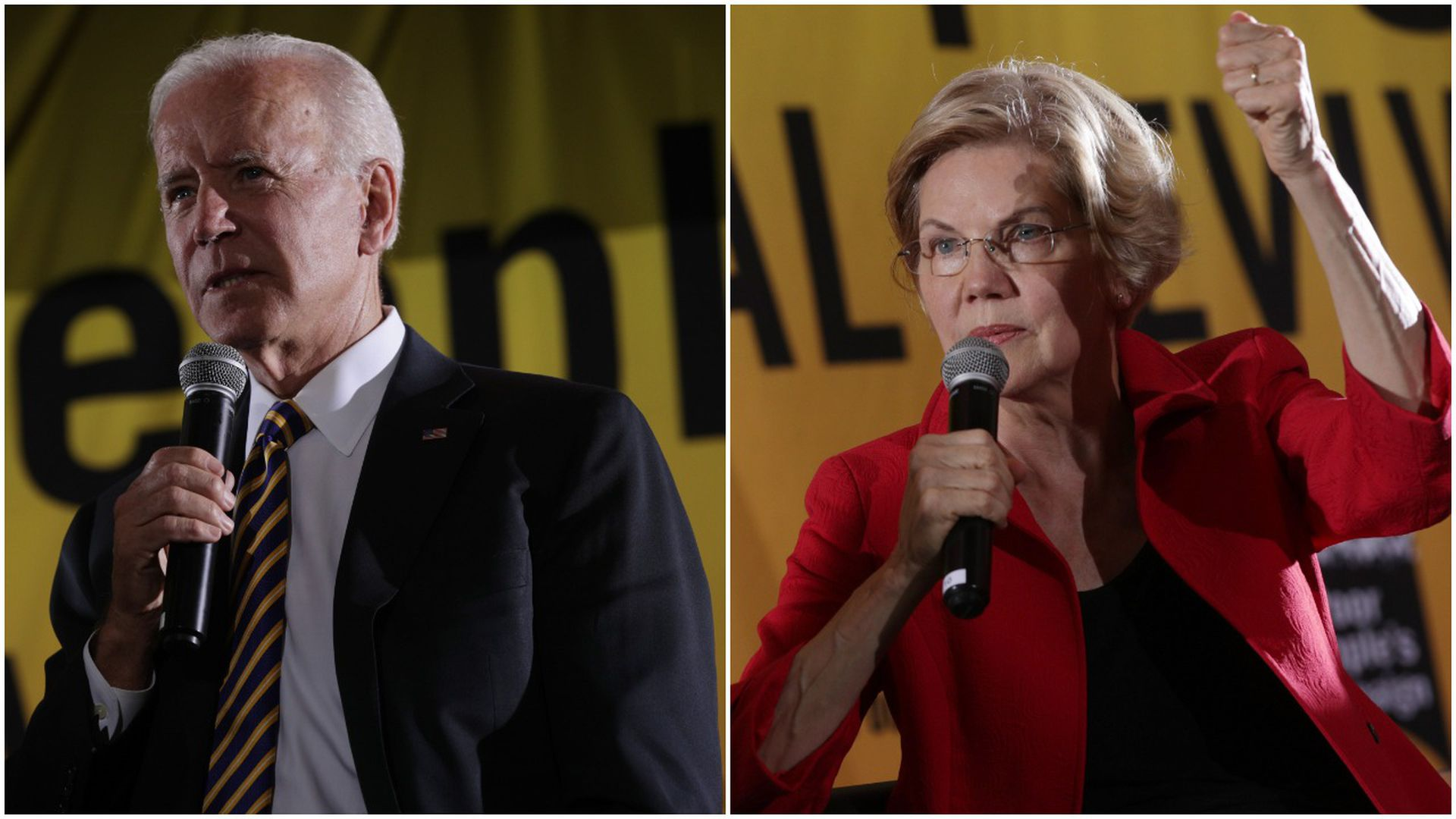 This image is a split-screen of Joe Biden and Elizabeth Warren, both standing and speaking into microphones.