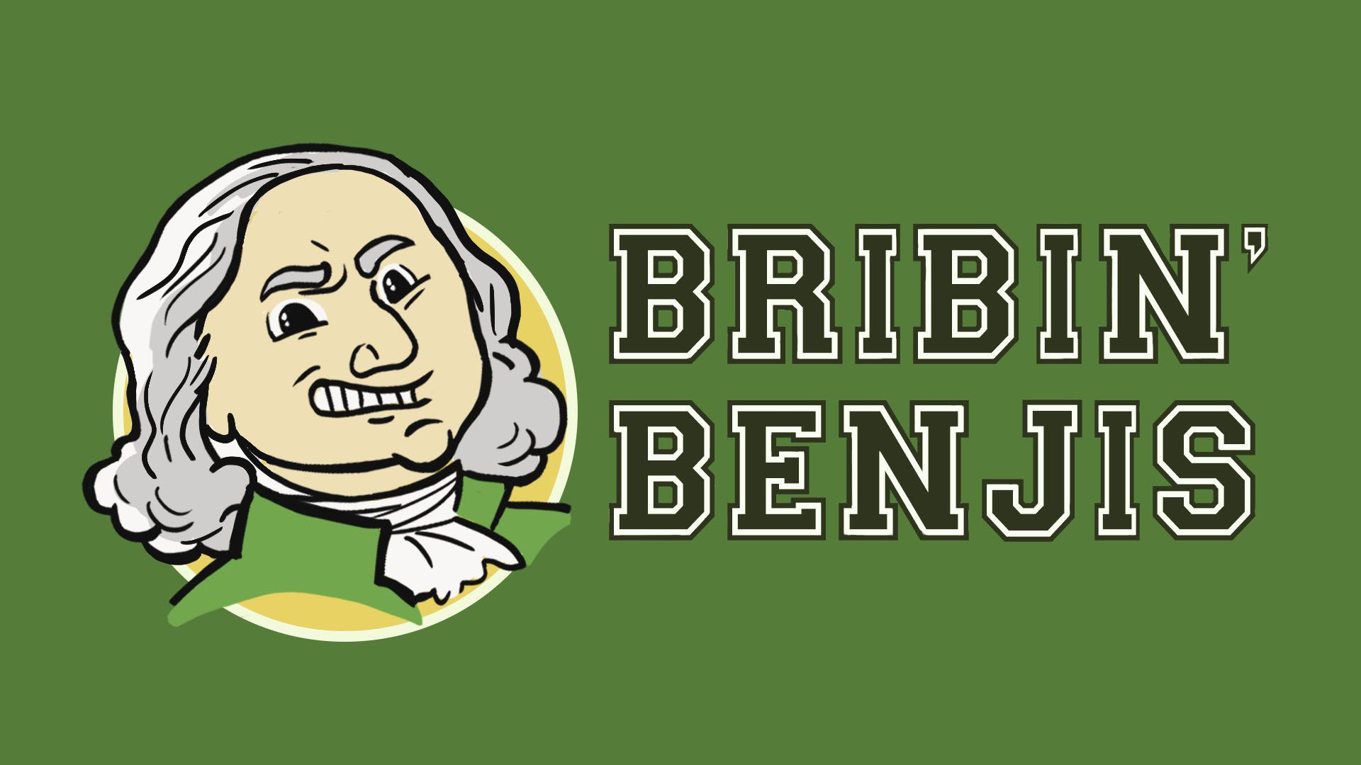 "Illustration of a college mascot and logo featuring Benjamin Franklin and the words ""Bribin' Benjis"""