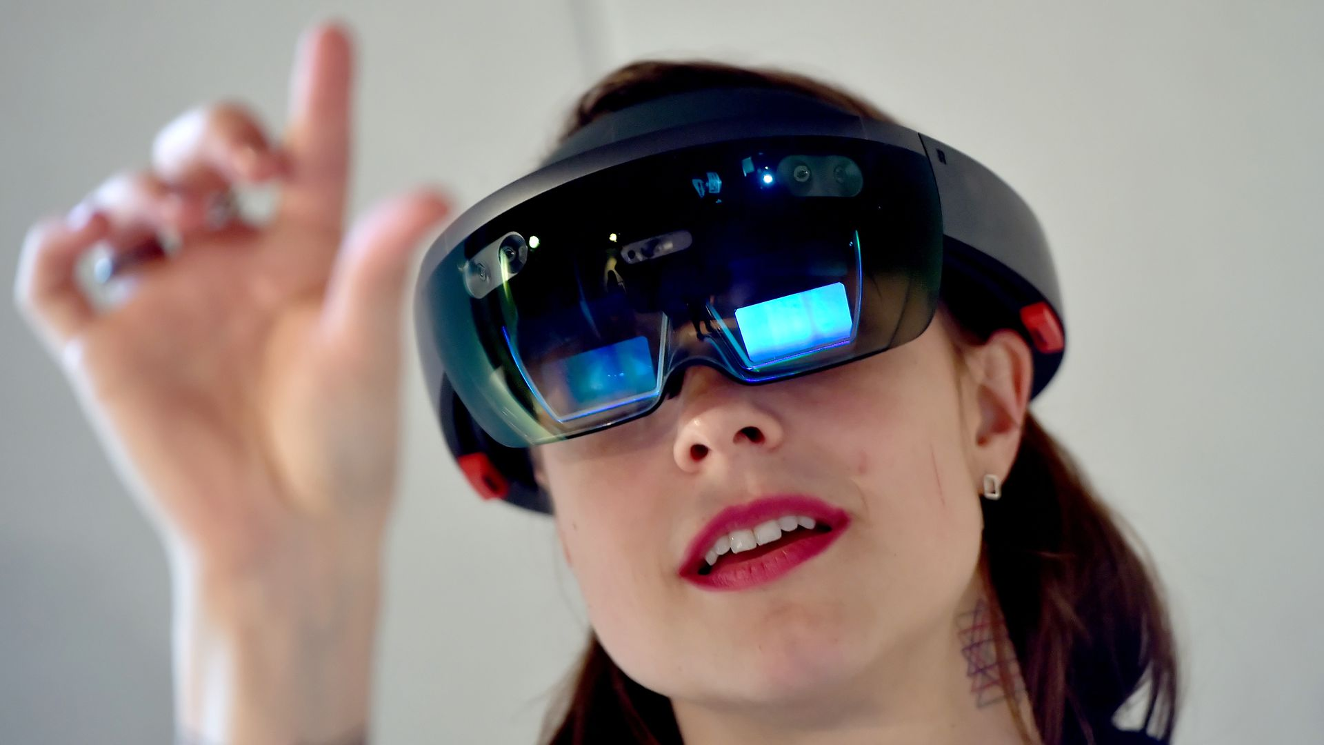 Woman using microsoft hololens