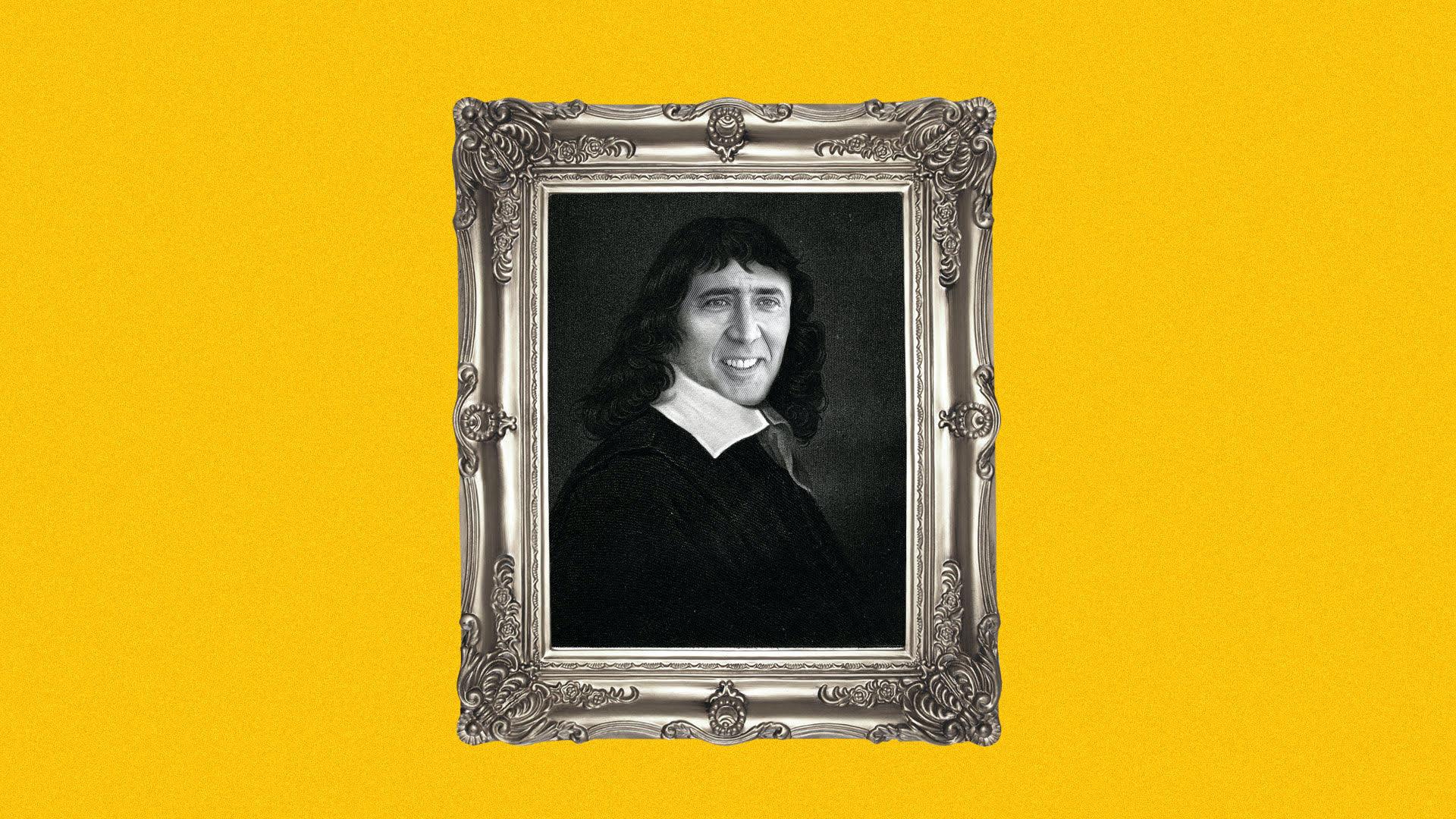 Illustration of a framed portrait of Renée Descartes with Nicholas Cage's face
