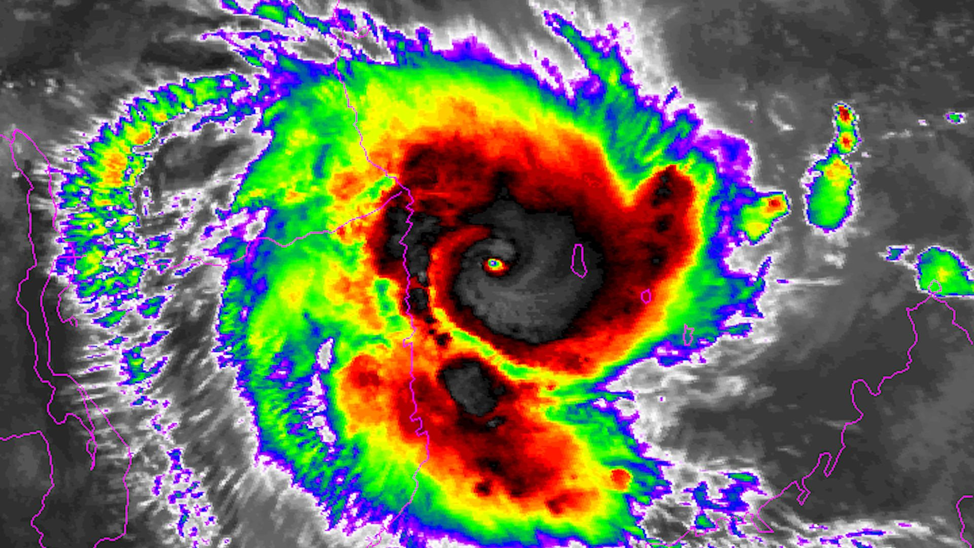 Tropical Cyclone Kenneth as seen from satellite infrared imagery