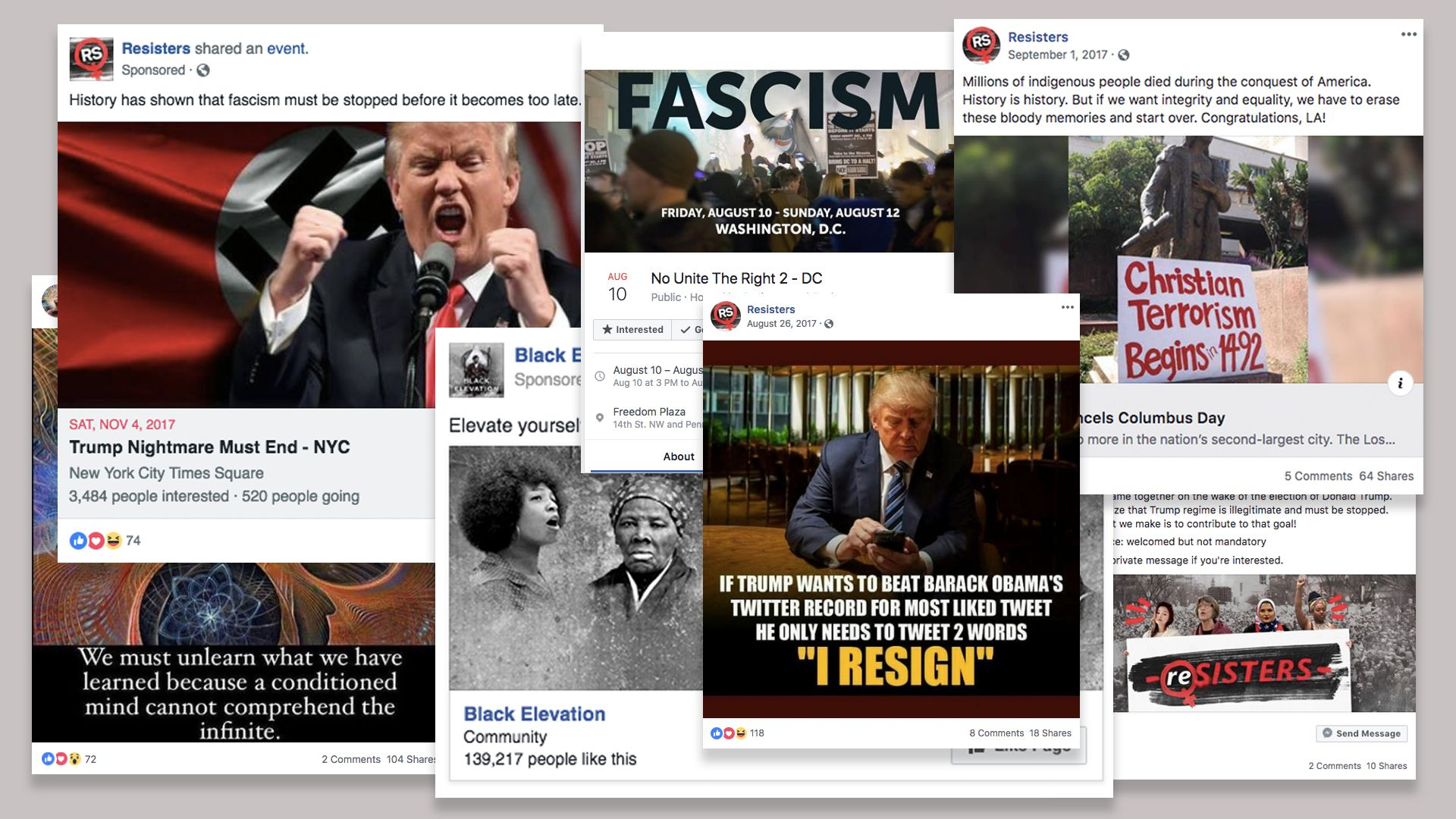 This collage shows different screenshots from Facebook posts that were removed for political disinformation