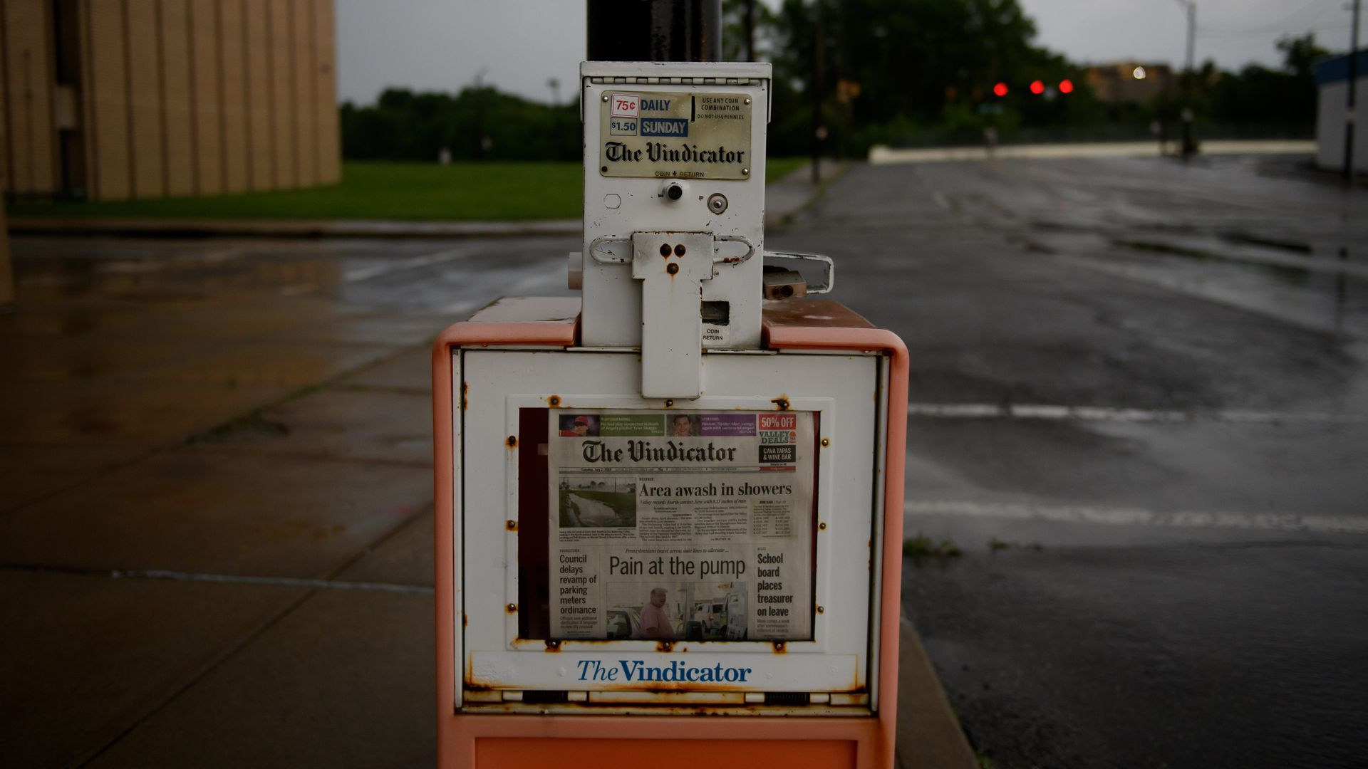 A news paper stand for The Vindicator in Youngstown, Ohio.