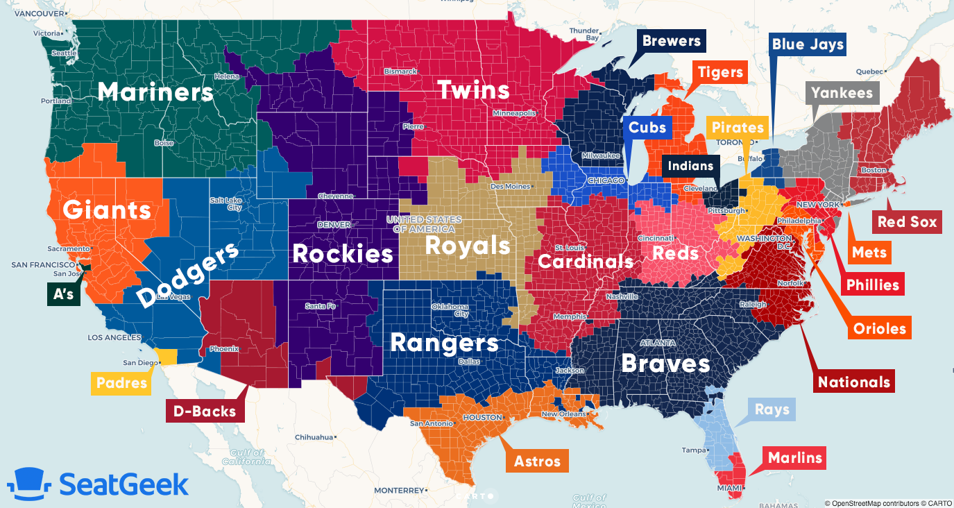 Map of U.S. showing which MLB teams each region roots for