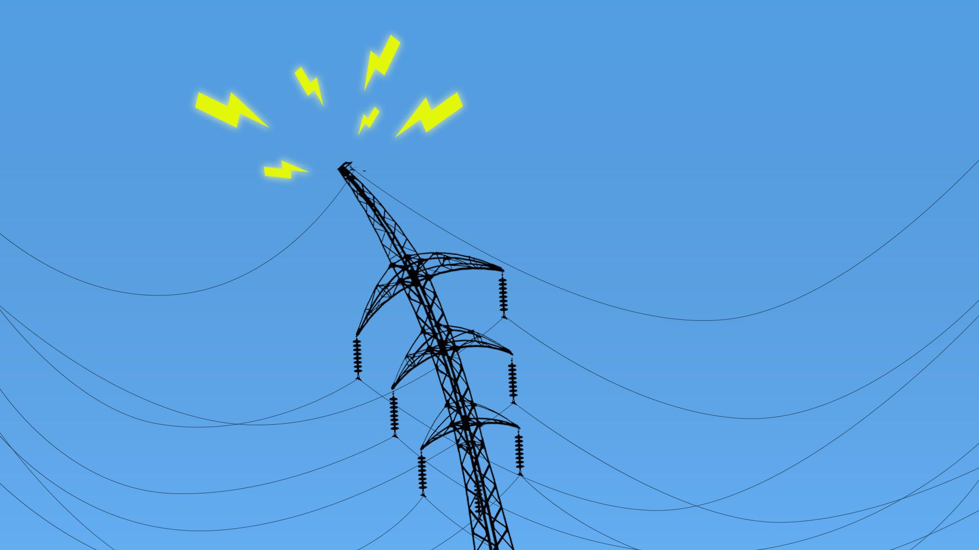 Illustration of a power line struggling under the weight of electrical wires