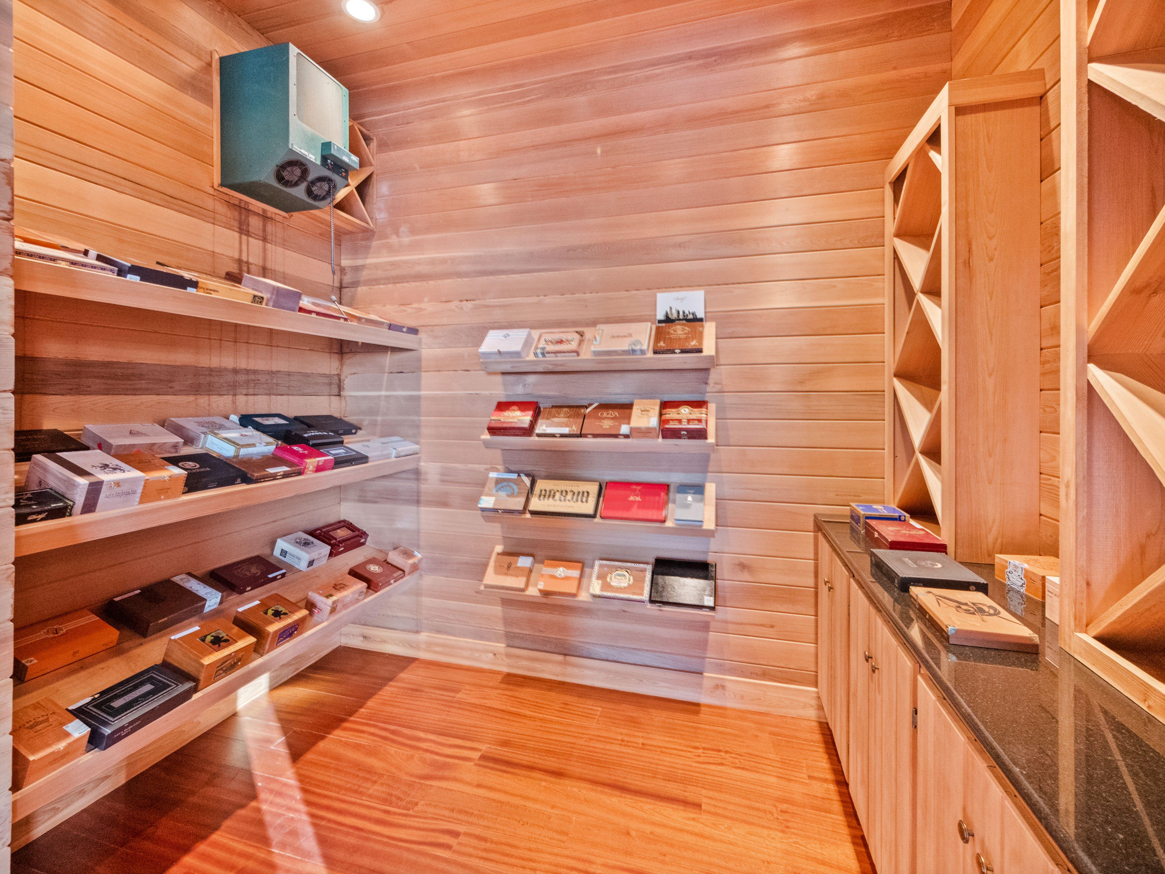 shaq's florida estate cigar room