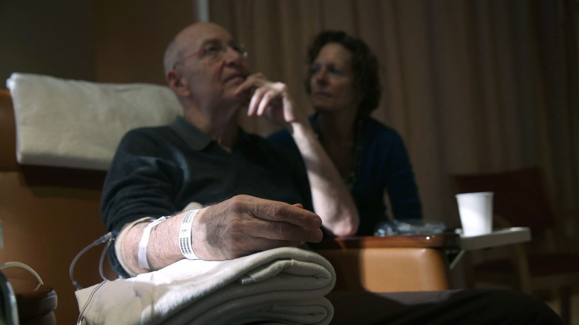 A patient undergoes cancer treatment in a hospital.