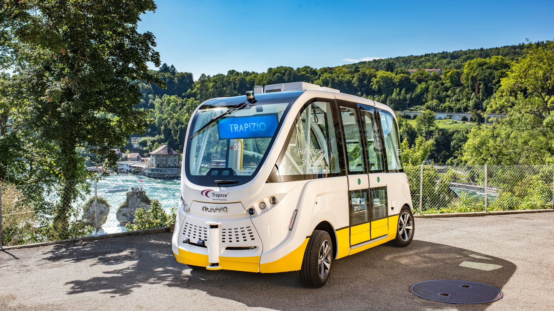 autonomous bus on road in Switzerland