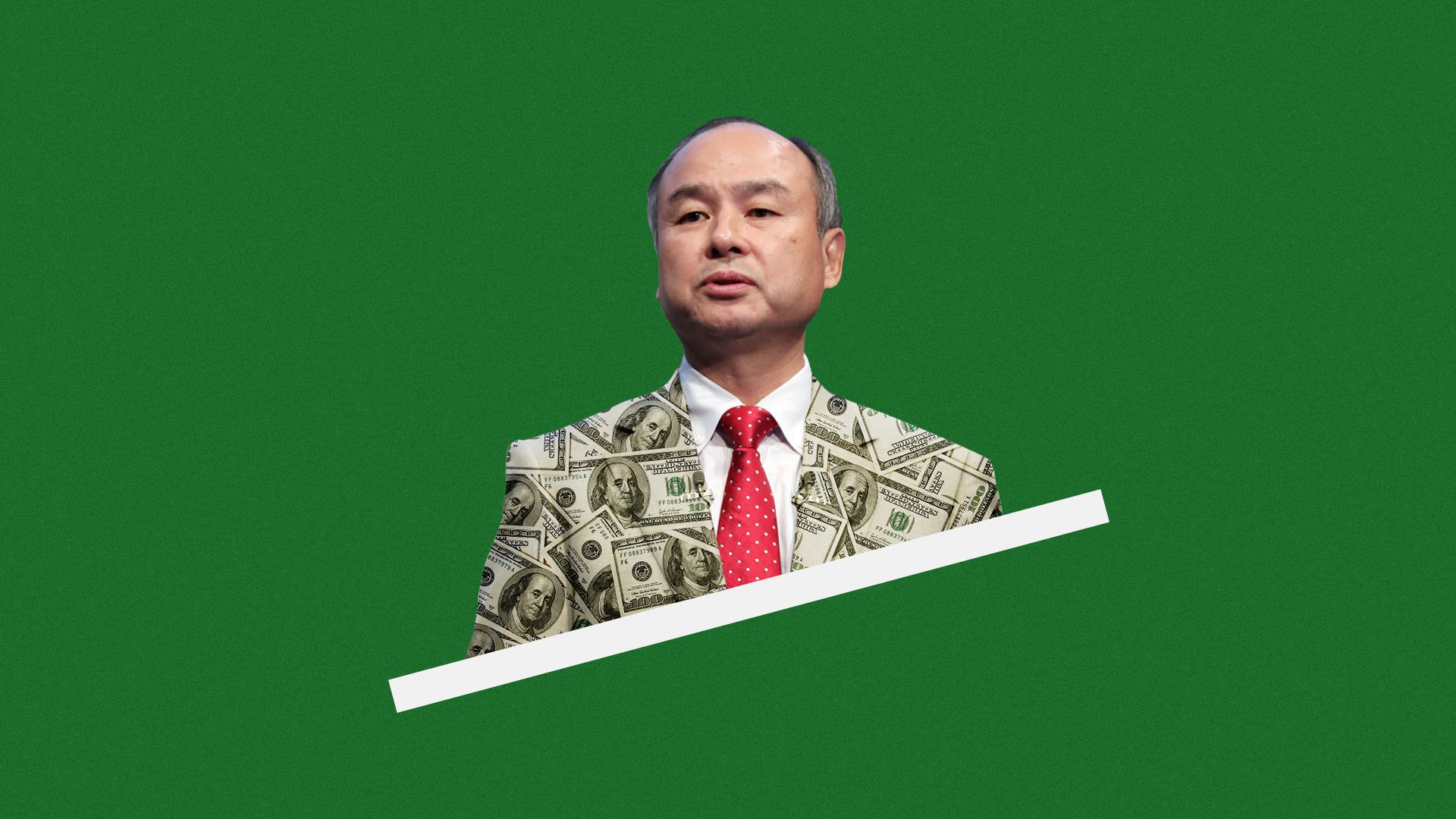 Illustration of Masayoshi Son in a money jacket