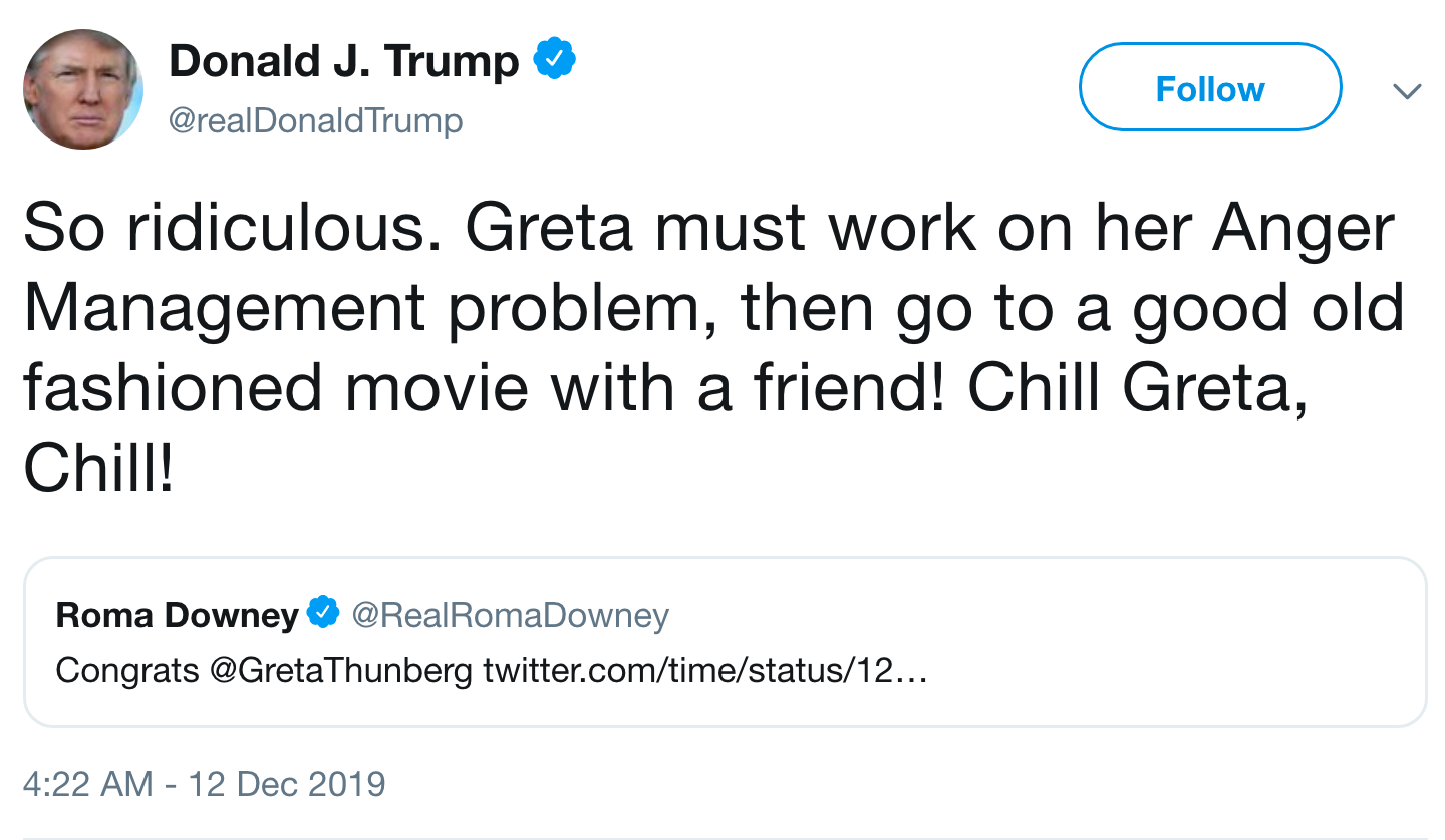 "Trump calls Time's decision to name Greta Thunberg as Person of the Year ""so ridiculous"" - Axios"