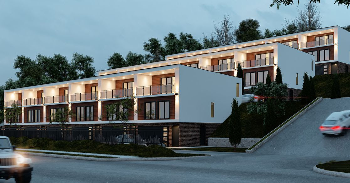 A rendering of row townhomes by Premier Construction Services.