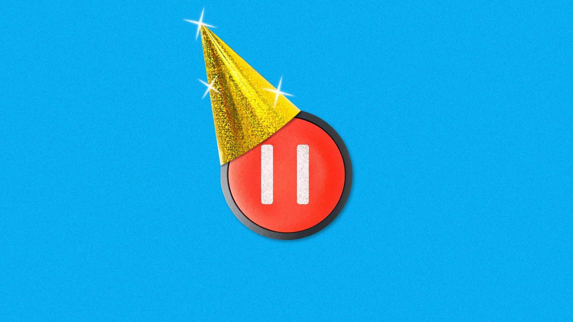 A pause button wearing a party hat.